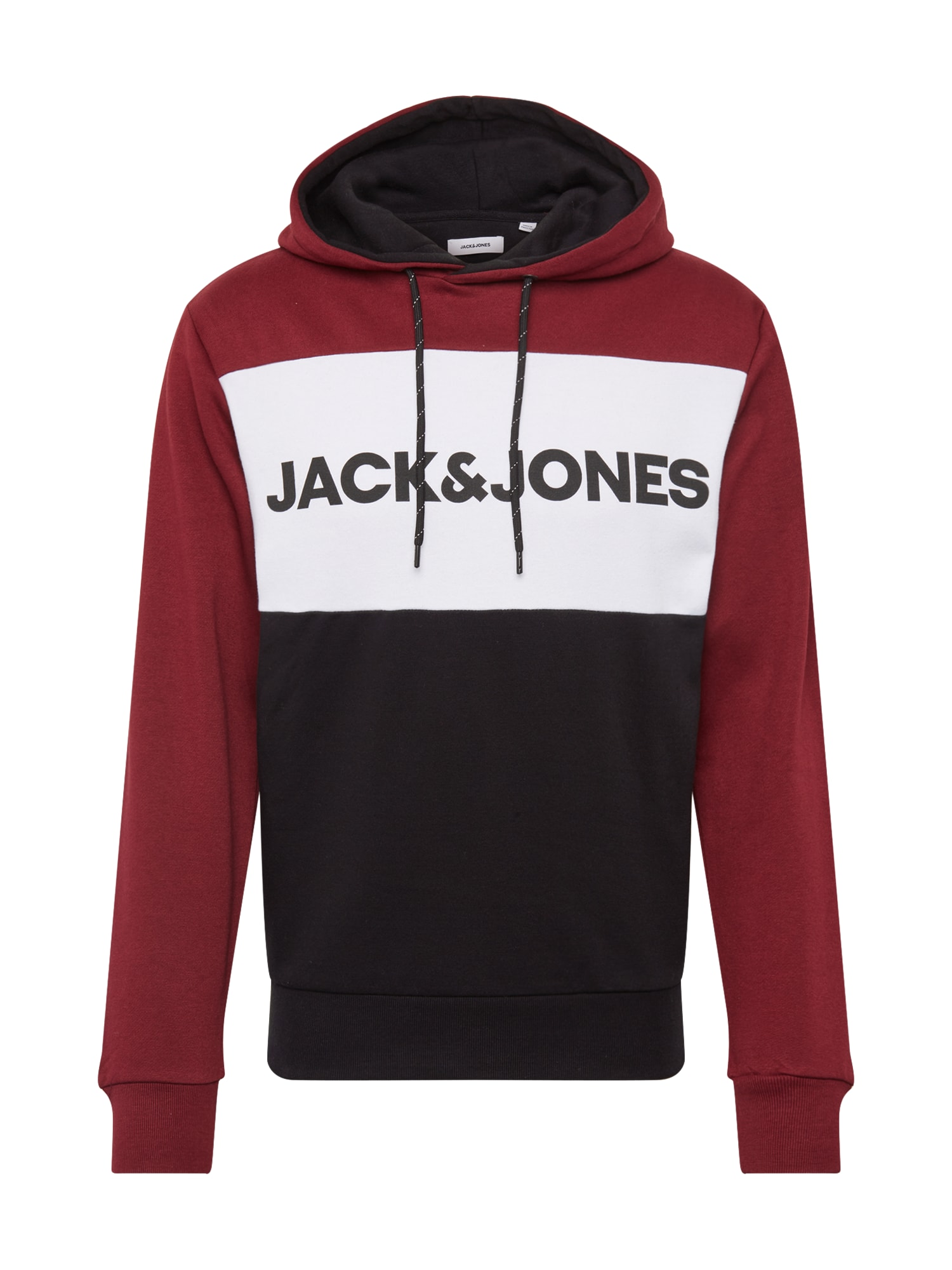 JACK & JONES Mikina  rubínově červená / bílá / černá