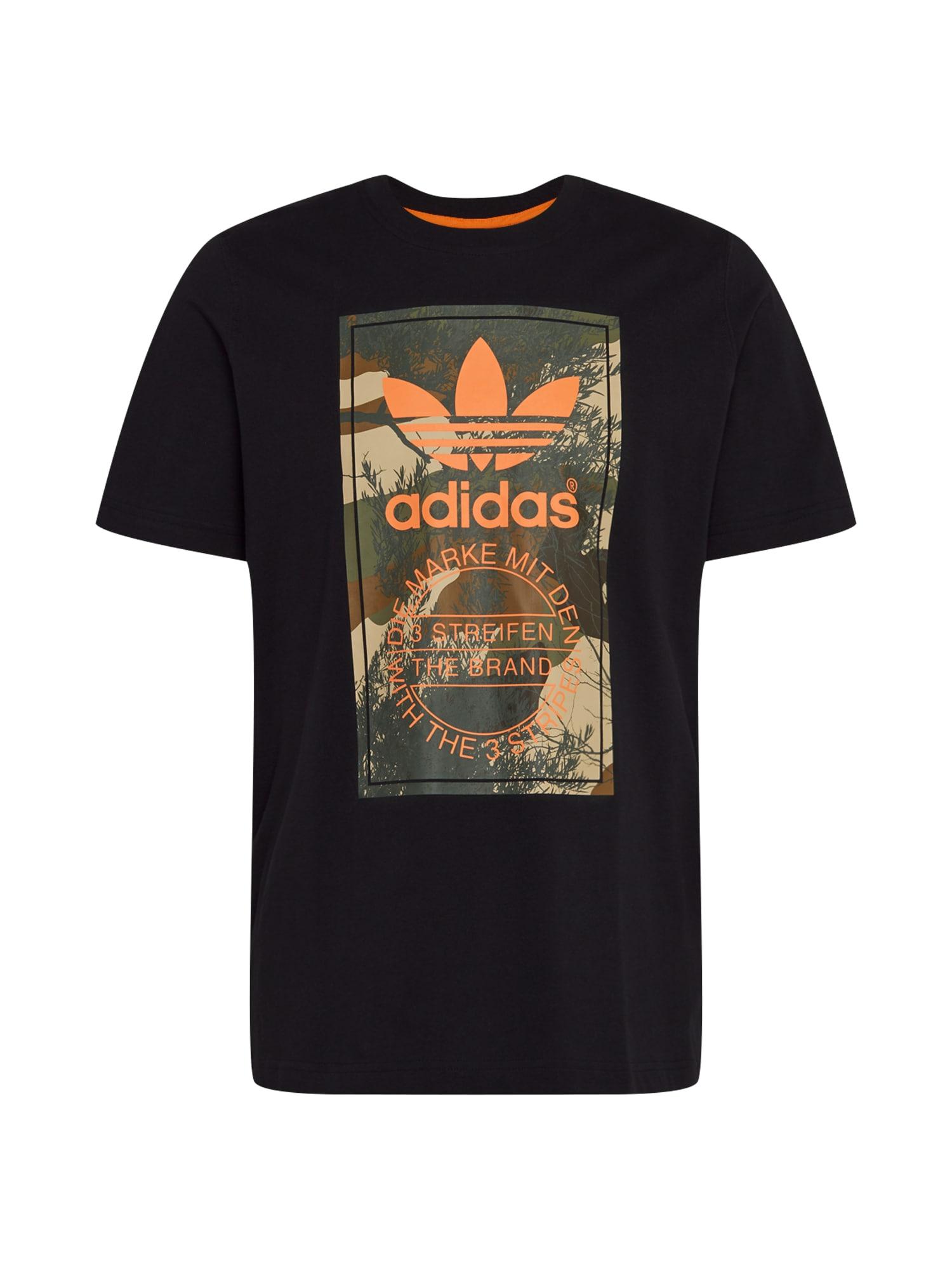 ADIDAS ORIGINALS Marškinėliai 'CAMO TONGUE TEE' oranžinė / juoda / alyvuogių spalva