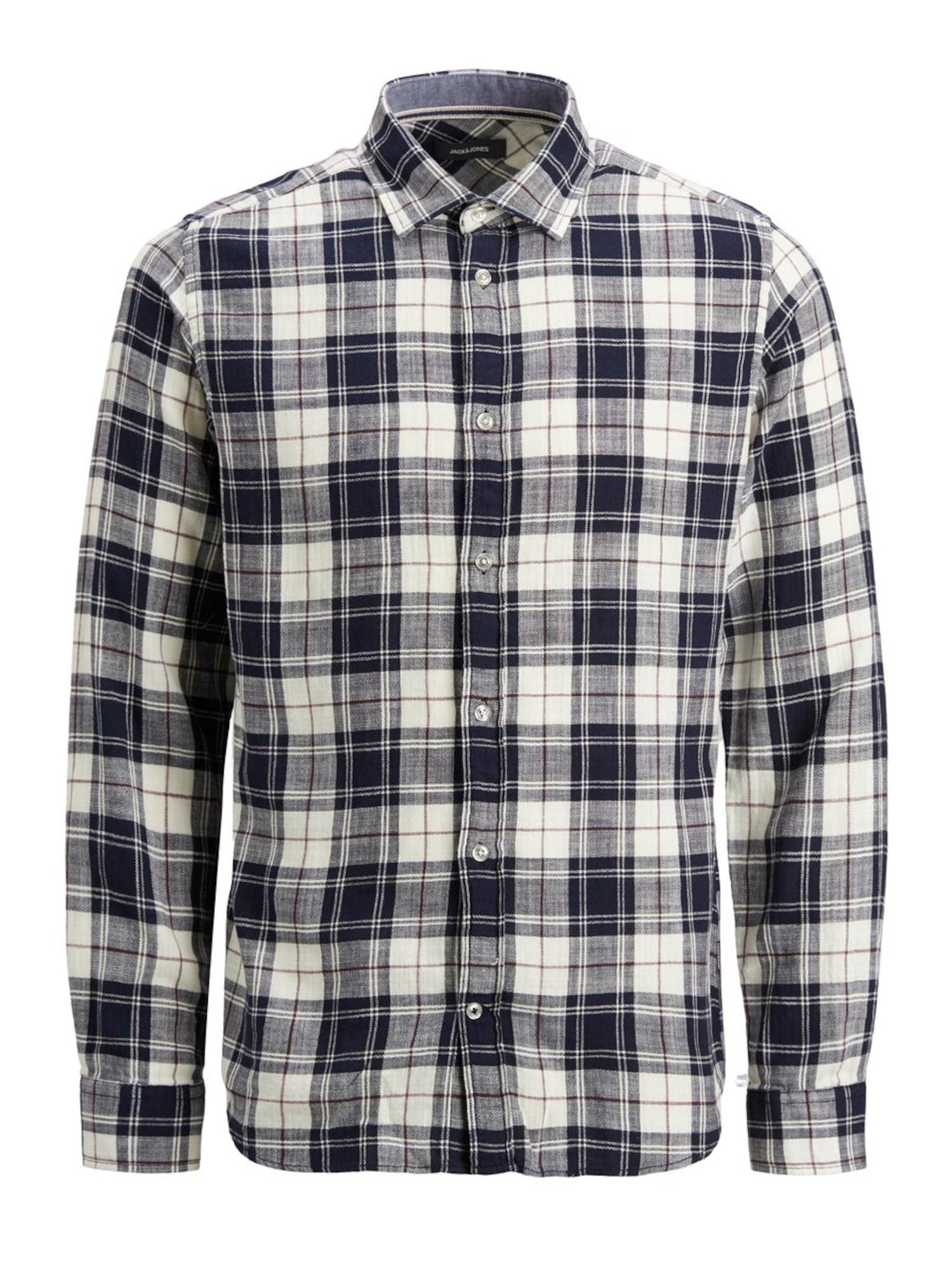 JACK & JONES Marškiniai balta / margai pilka / tamsiai mėlyna