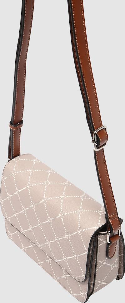 Schlichte, elegante Umhängetasche von Tamaris aus robustem Kunstleder mit Allover-Logoprint. Zeitloses Design und hochwertige Verarbeitung machen diese schöne Umhängetasche zu einem Must-Have für unterwegs.