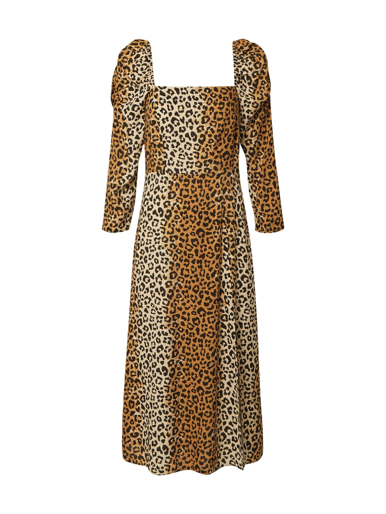 Miss Selfridge Šaty  hnědá / černá / béžová