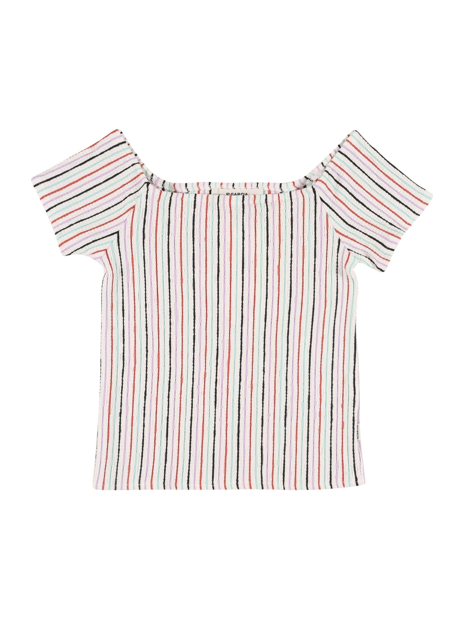 GARCIA Marškinėliai balkšva / mėtų spalva / šviesiai violetinė / juoda / raudona