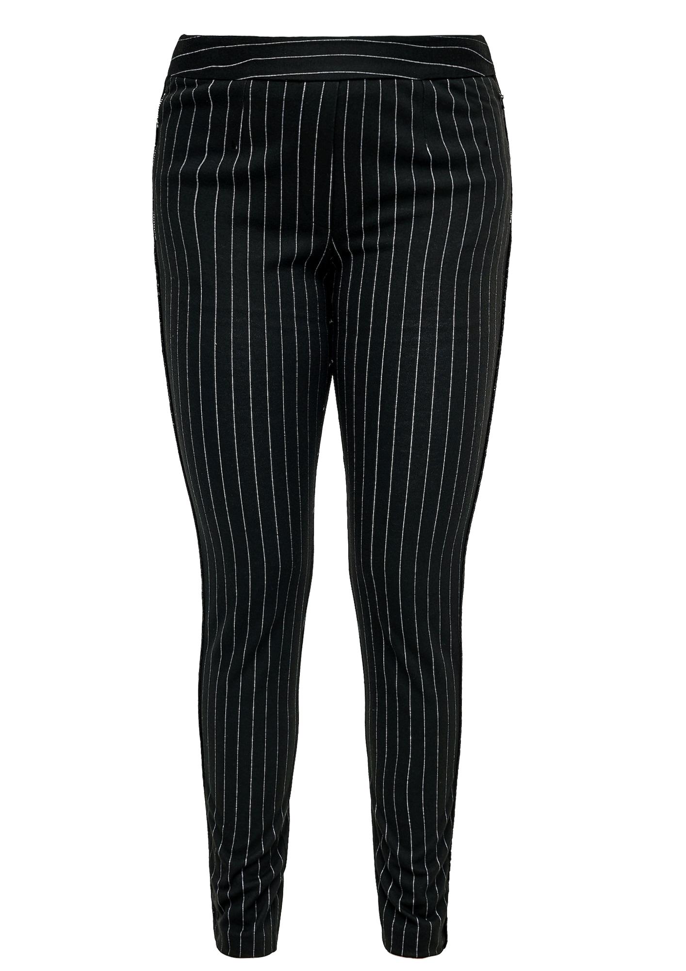 TRIANGLE Chino nohavice  čierna / biela