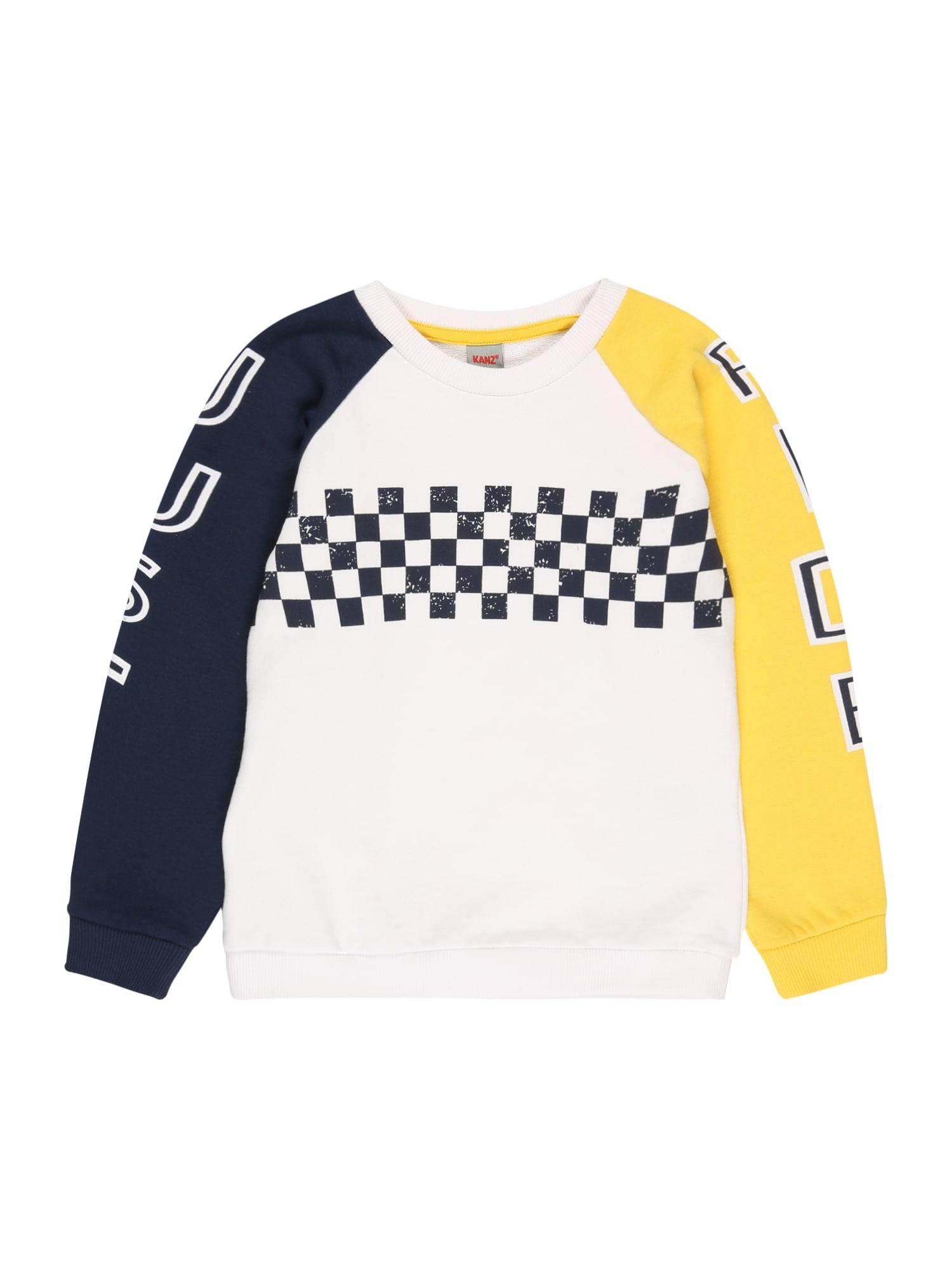 KANZ Megztinis be užsegimo balta / geltona / tamsiai mėlyna