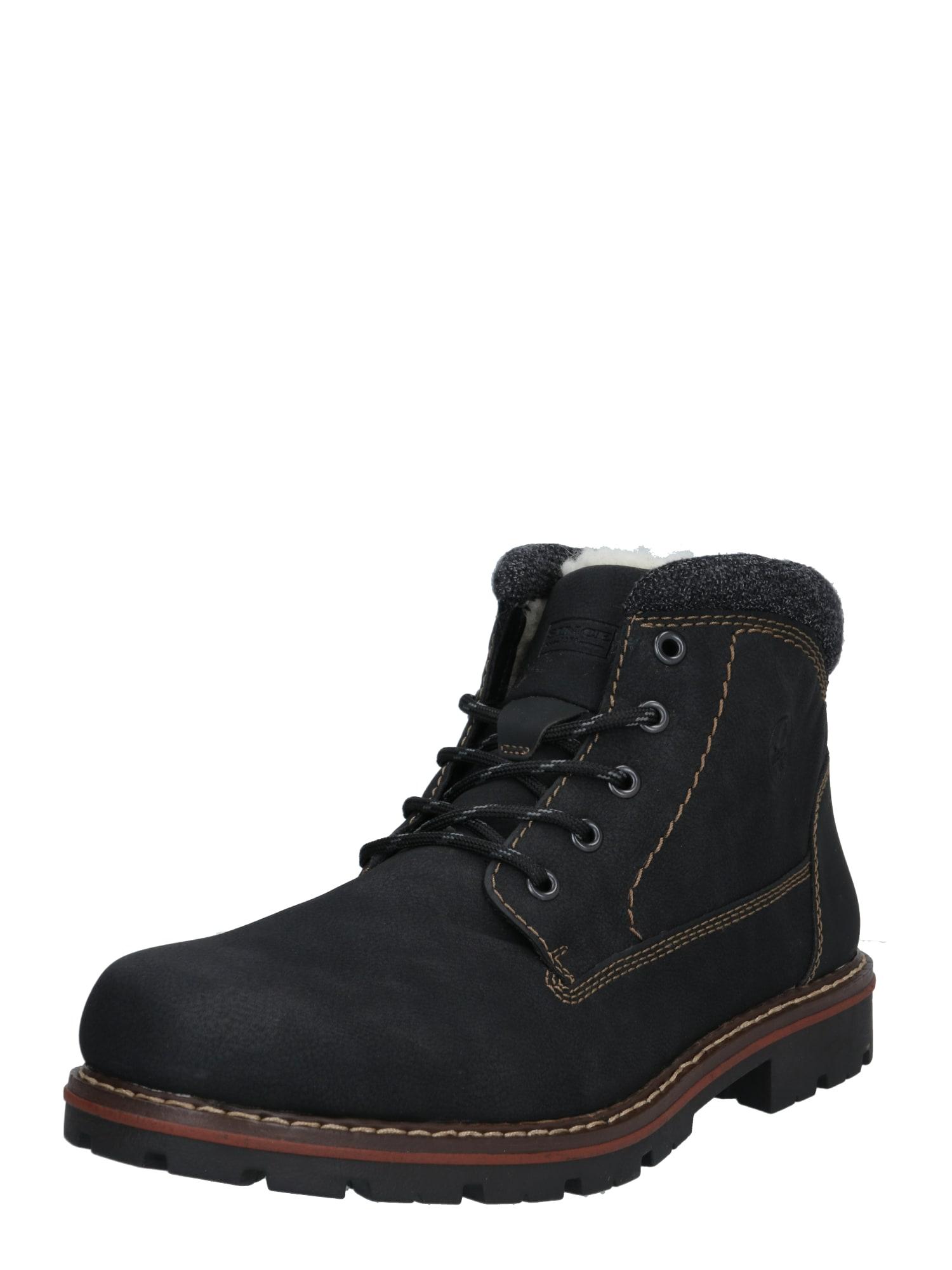 RIEKER Auliniai batai su raišteliais juoda