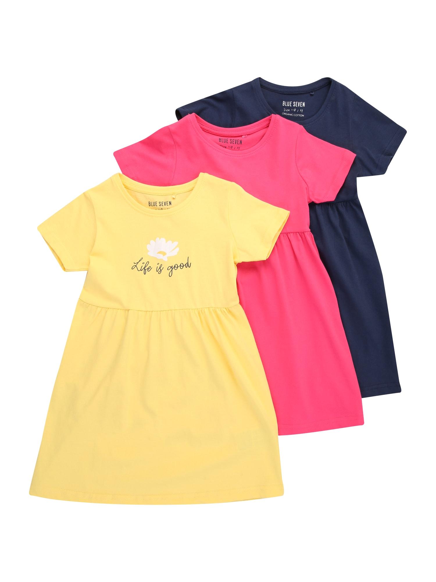BLUE SEVEN Suknelė geltona / tamsiai mėlyna / rožinė