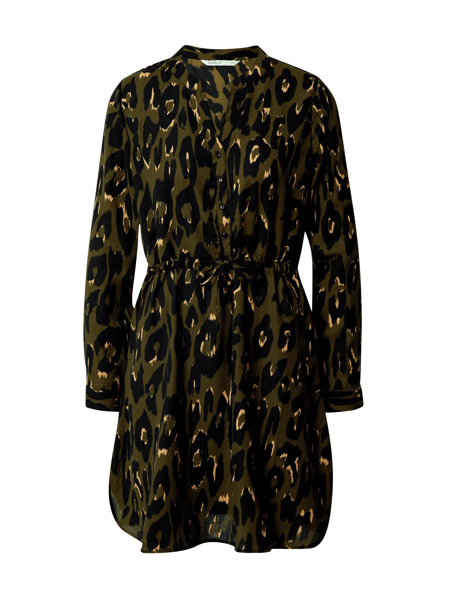 ONLY Košilové šaty 'Cory'  černá / olivová / béžová