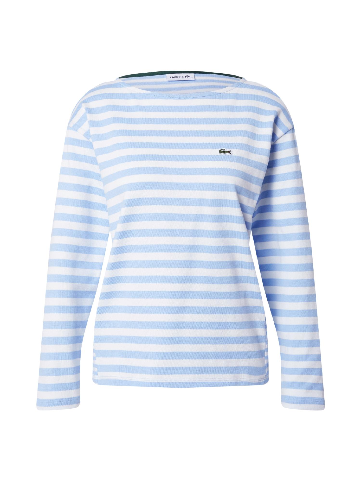 LACOSTE Marškinėliai balta / šviesiai mėlyna