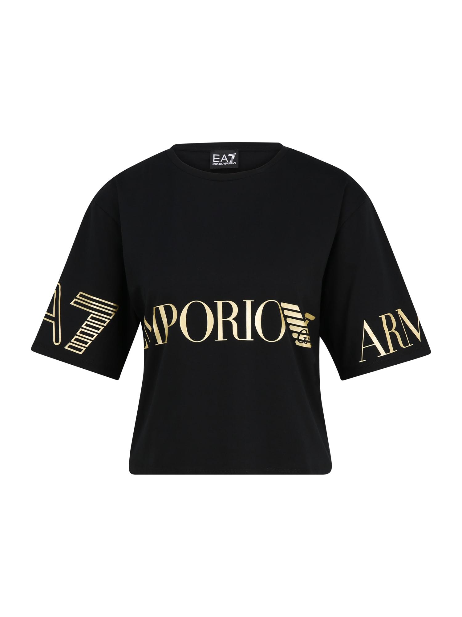 EA7 Emporio Armani Marškinėliai juoda / auksas