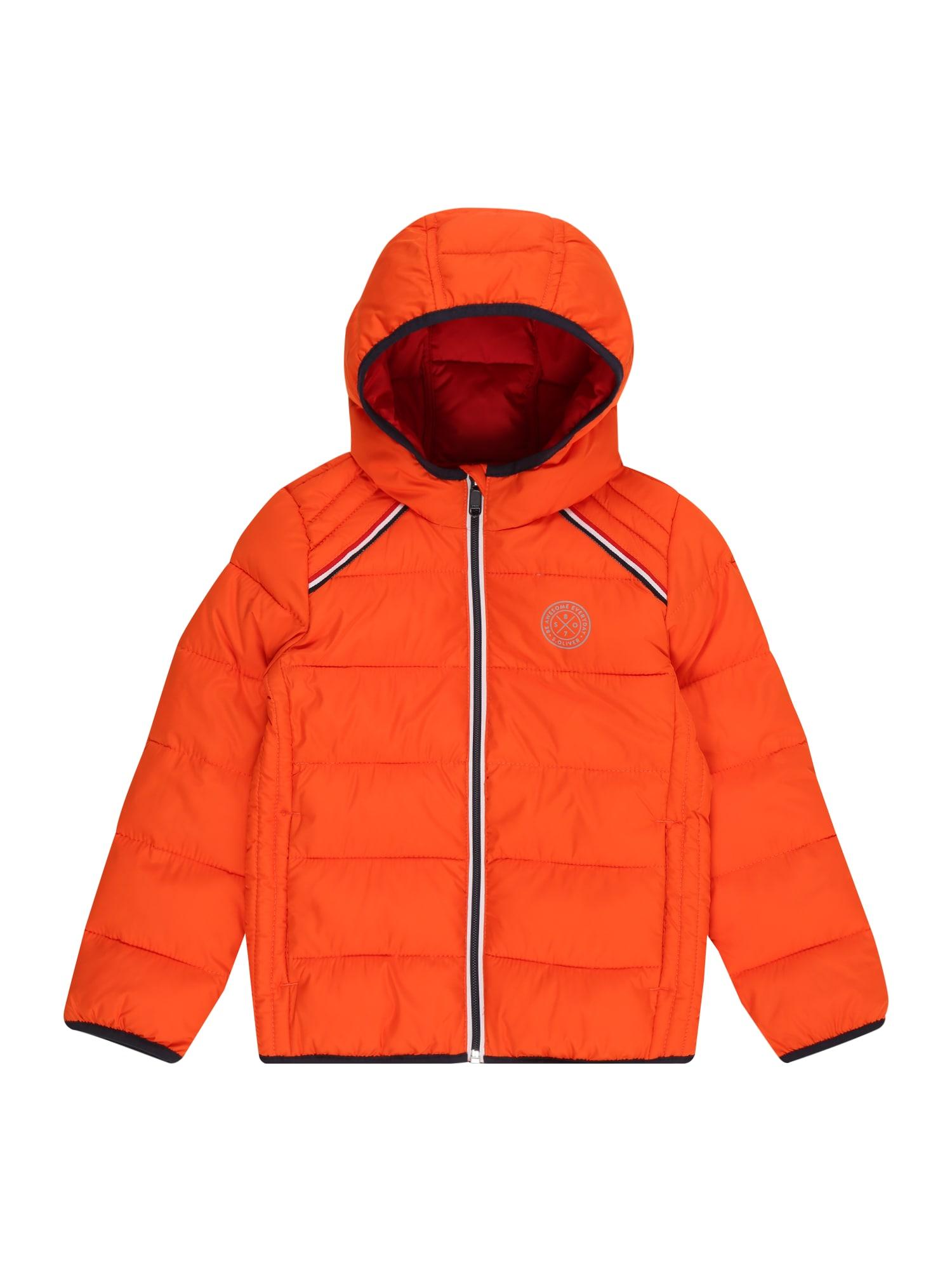 s.Oliver Zimní bunda  svítivě oranžová / černá / stříbrná