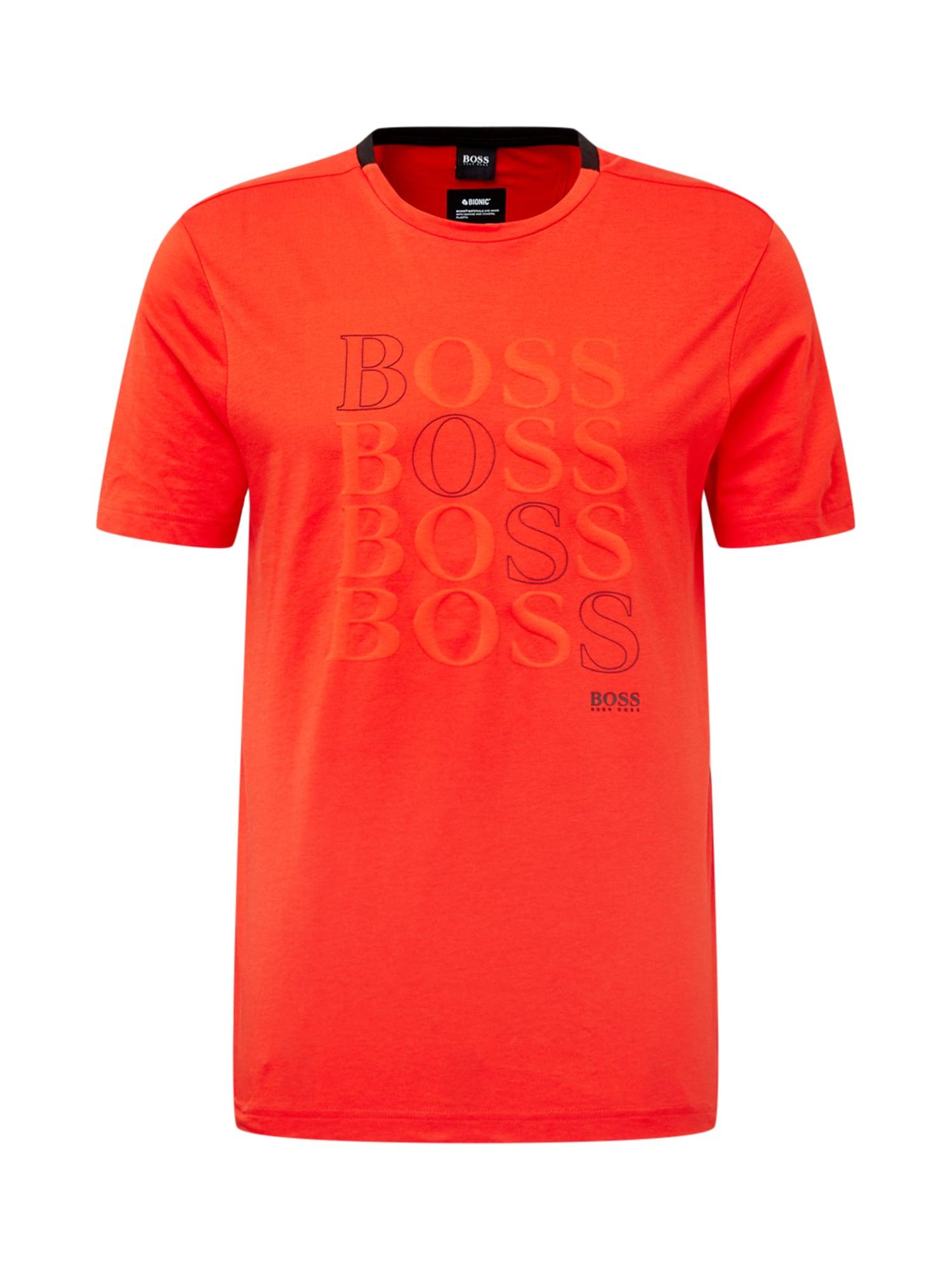 BOSS ATHLEISURE Marškinėliai 'Teeonic' raudona / juoda