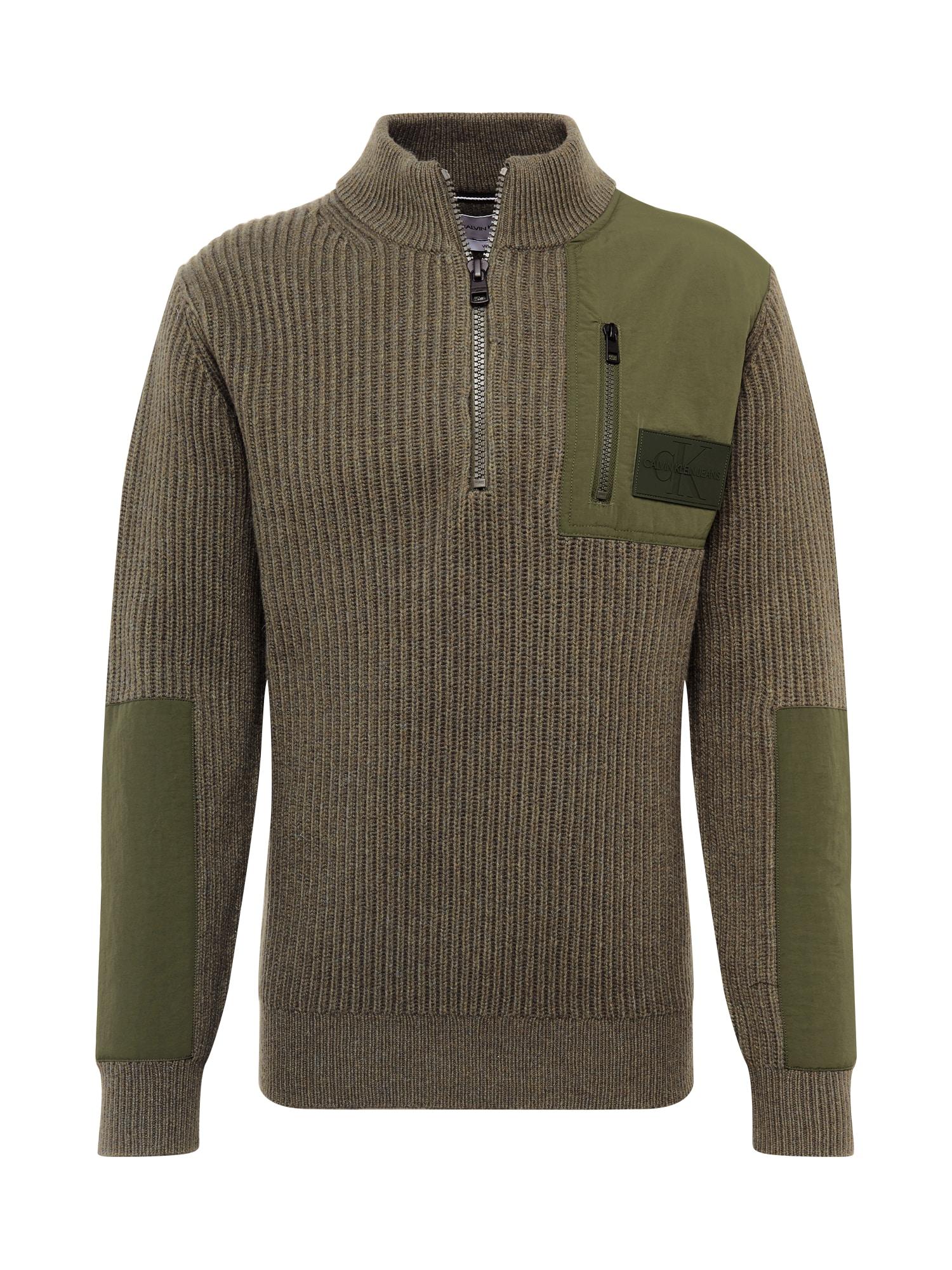 Calvin Klein Jeans Megztinis tamsiai žalia / rusvai žalia