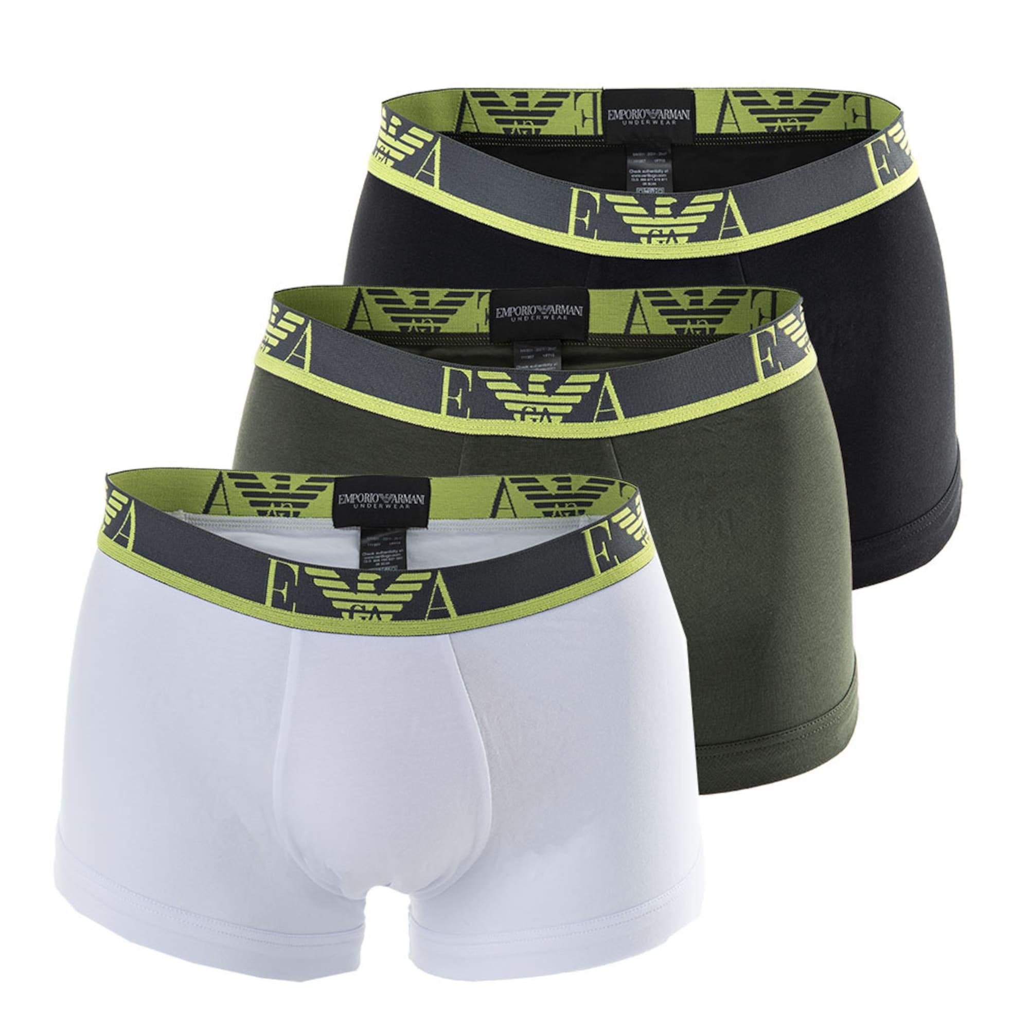 Emporio Armani Boxer trumpikės tamsiai pilka / juoda / neoninė geltona / balta / alyvuogių spalva