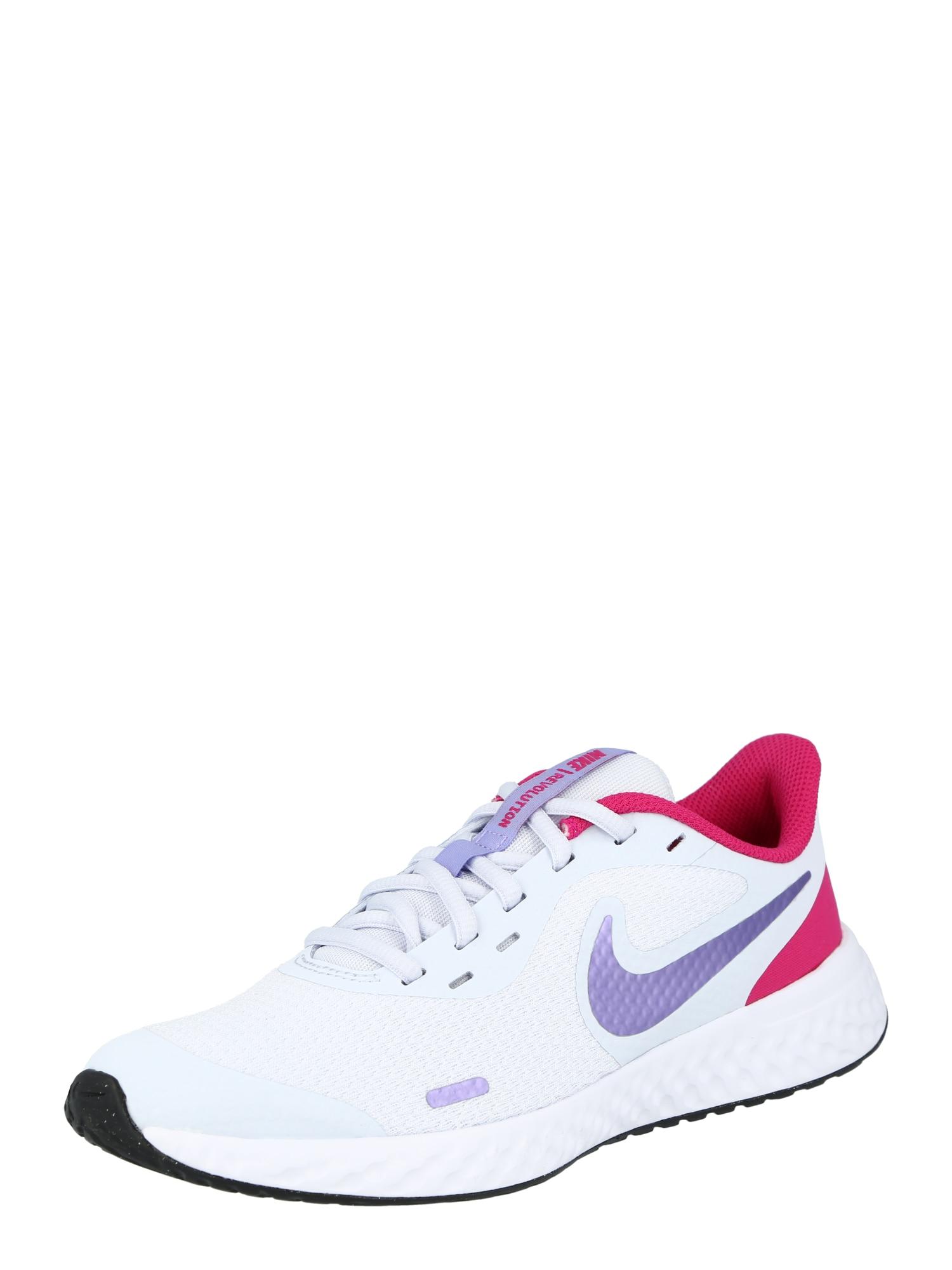 NIKE Sportiniai batai 'Revolution 5' pilka / rožinė / balta / tamsiai violetinė