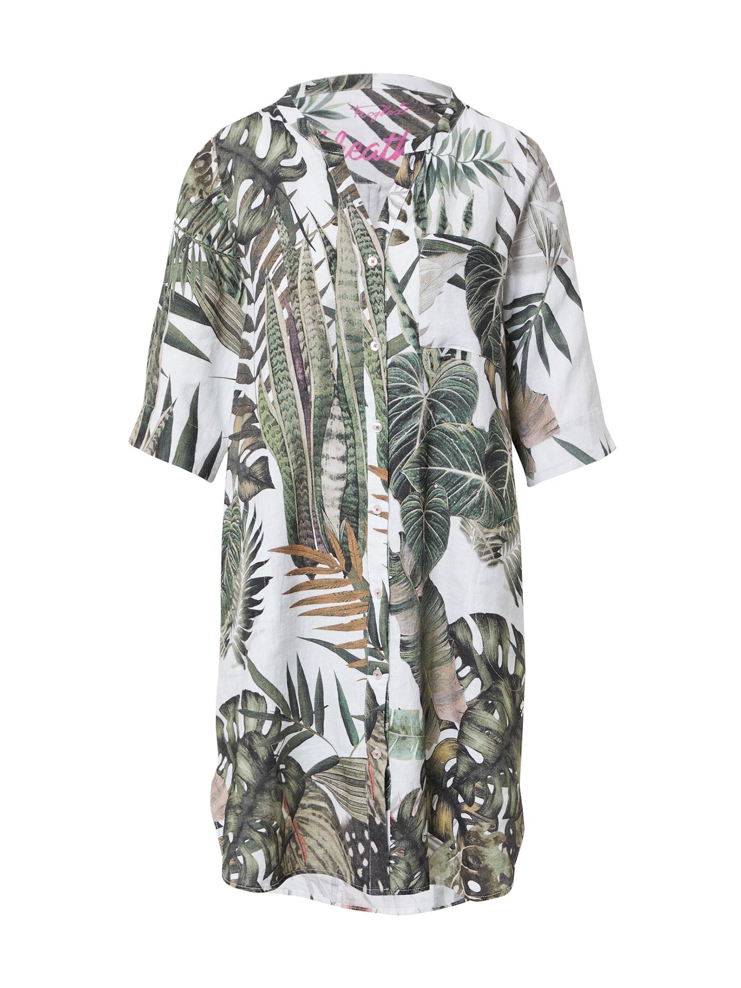 Frogbox Vasarinė suknelė žalia / balta / smėlio spalva