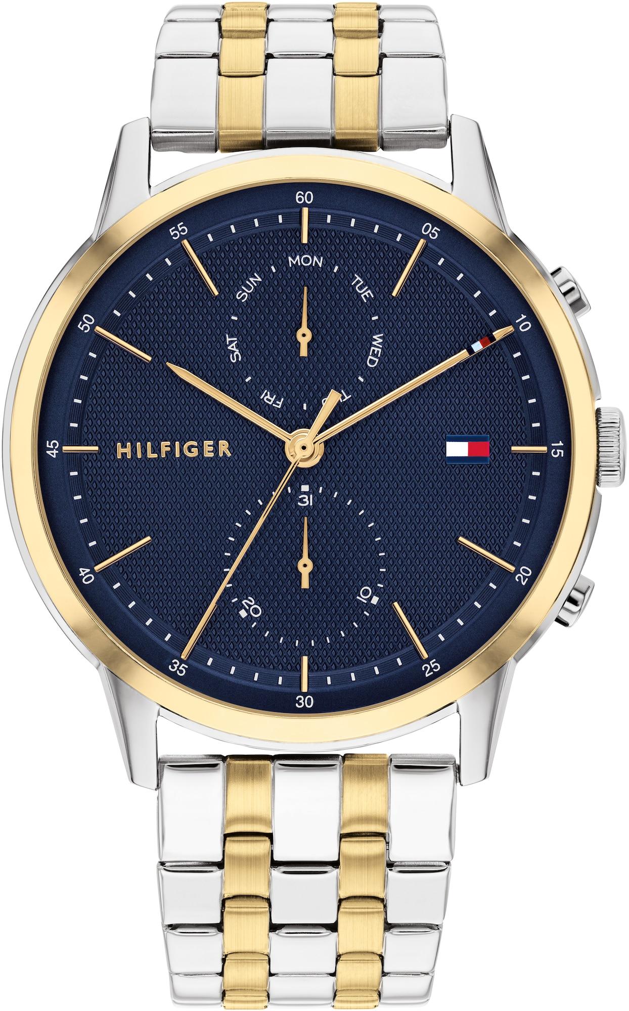TOMMY HILFIGER Analoginis (įprasto dizaino) laikrodis sidabrinė / tamsiai mėlyna / rožinio aukso spalva