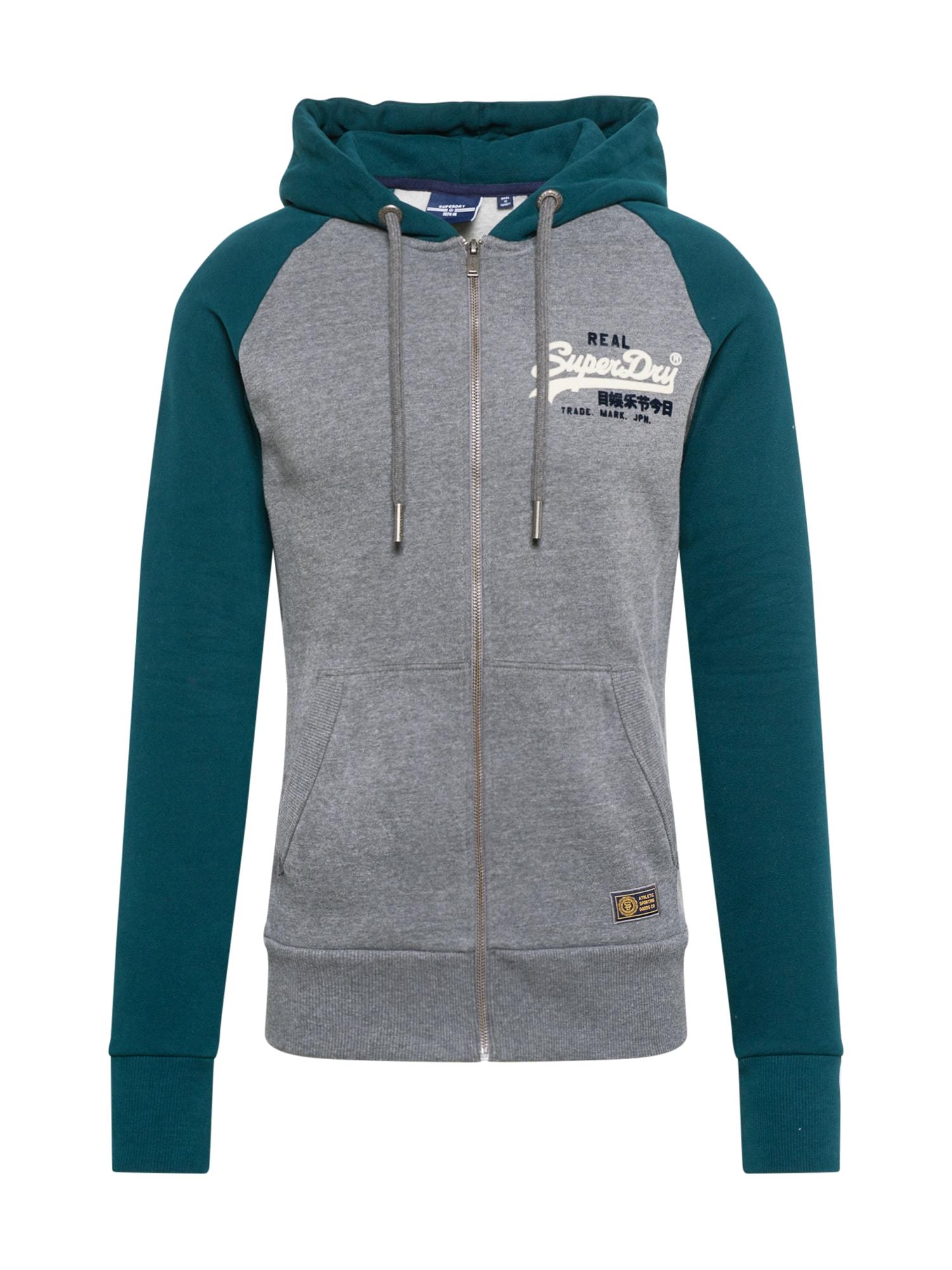 Superdry Džemperis pilka / benzino spalva / balta