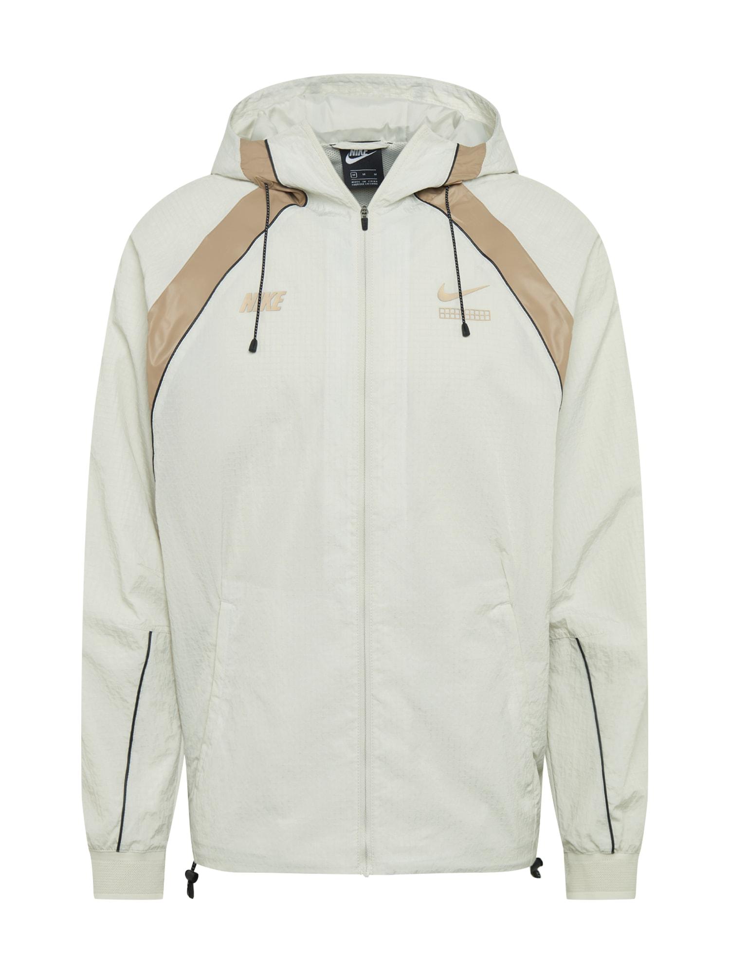 Nike Sportswear Demisezoninė striukė balta / auksas