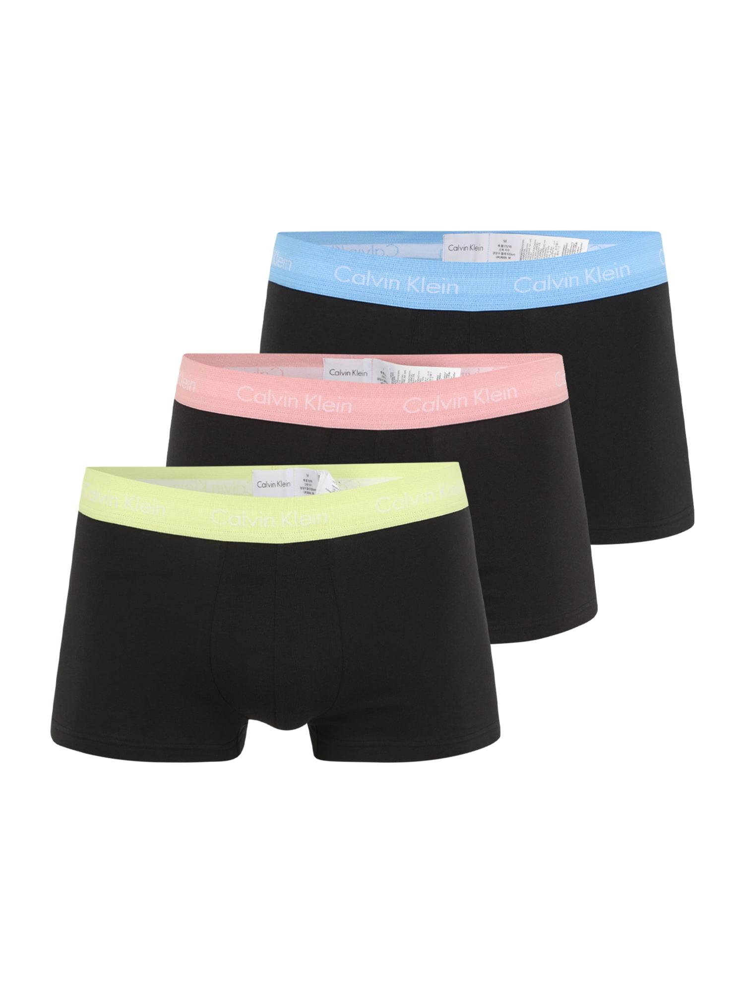 Calvin Klein Underwear Boxer trumpikės juoda / balta / šviesiai geltona / šviesiai mėlyna / šviesiai rožinė