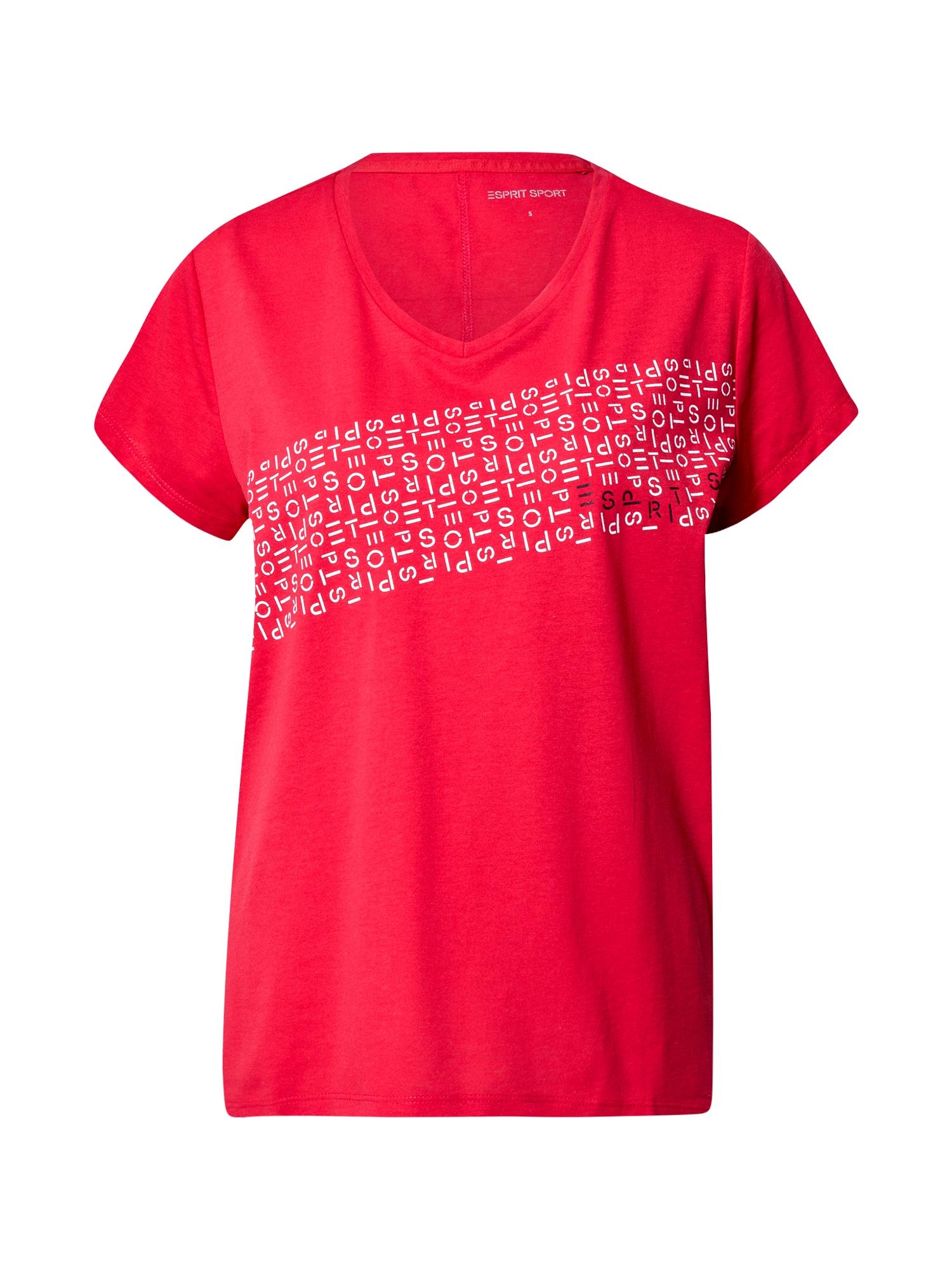 ESPRIT SPORT Sportiniai marškinėliai raudona / balta