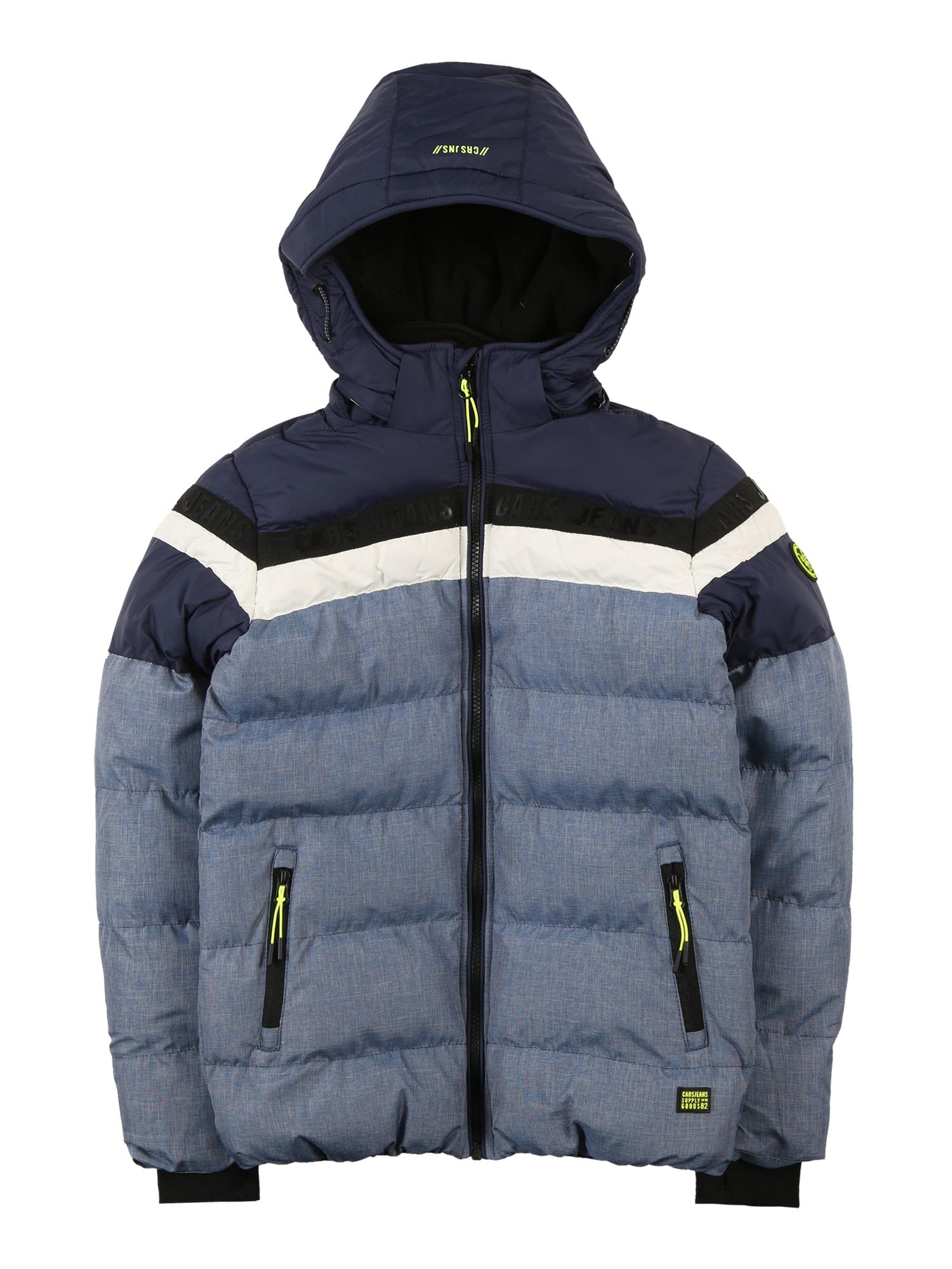 Cars Jeans Žieminė striukė 'BYRAM' tamsiai mėlyna / juoda / balta / neoninė žalia / margai mėlyna