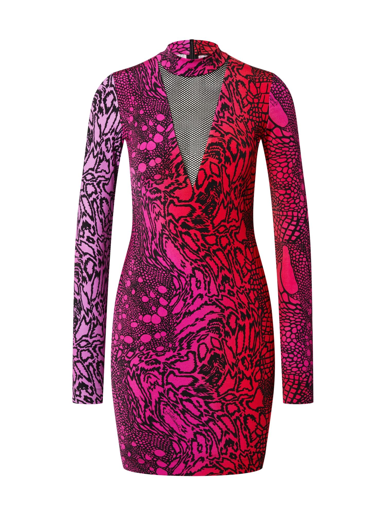 Just Cavalli Suknelė juoda / rožinė / raudona
