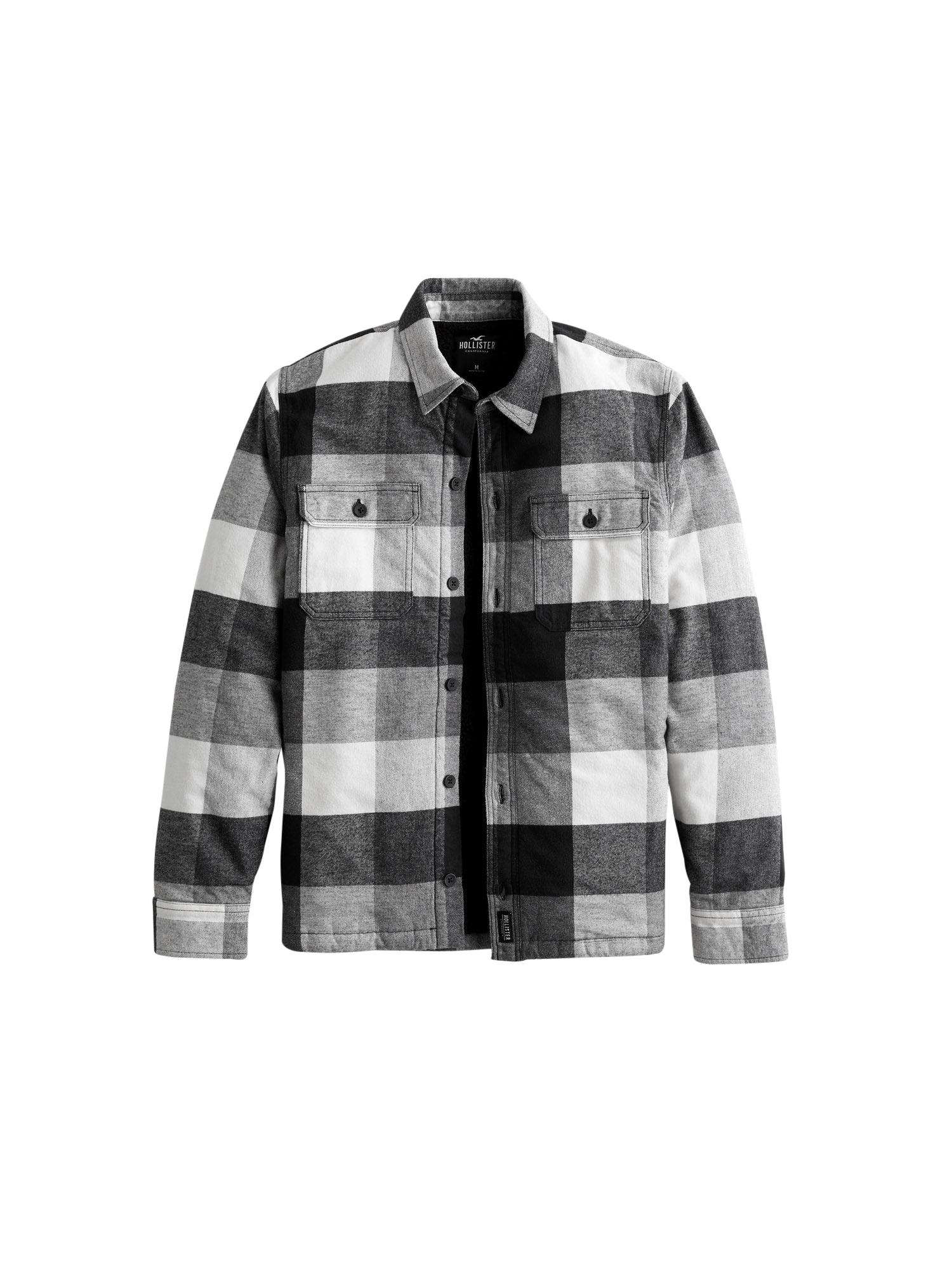 HOLLISTER Marškiniai juoda / balta / pilka
