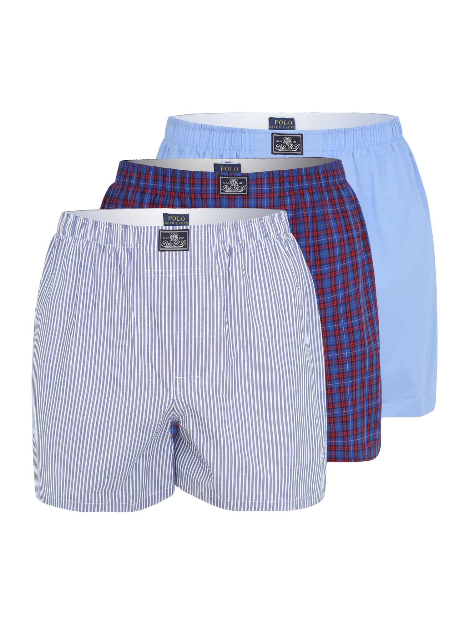 POLO RALPH LAUREN Boxer trumpikės šviesiai mėlyna / tamsiai mėlyna / raudona / balta