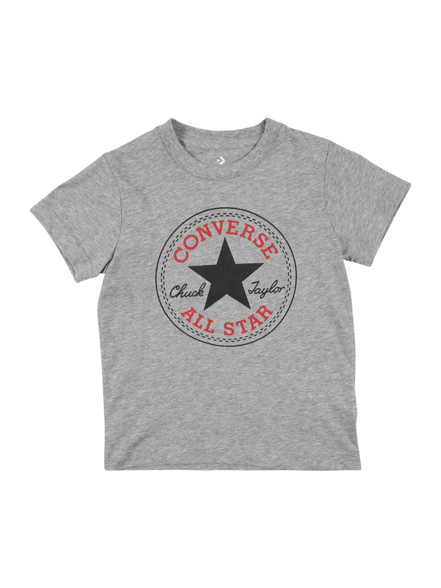CONVERSE Marškinėliai 'CHUCK PATCH' margai pilka / raudona / grafito