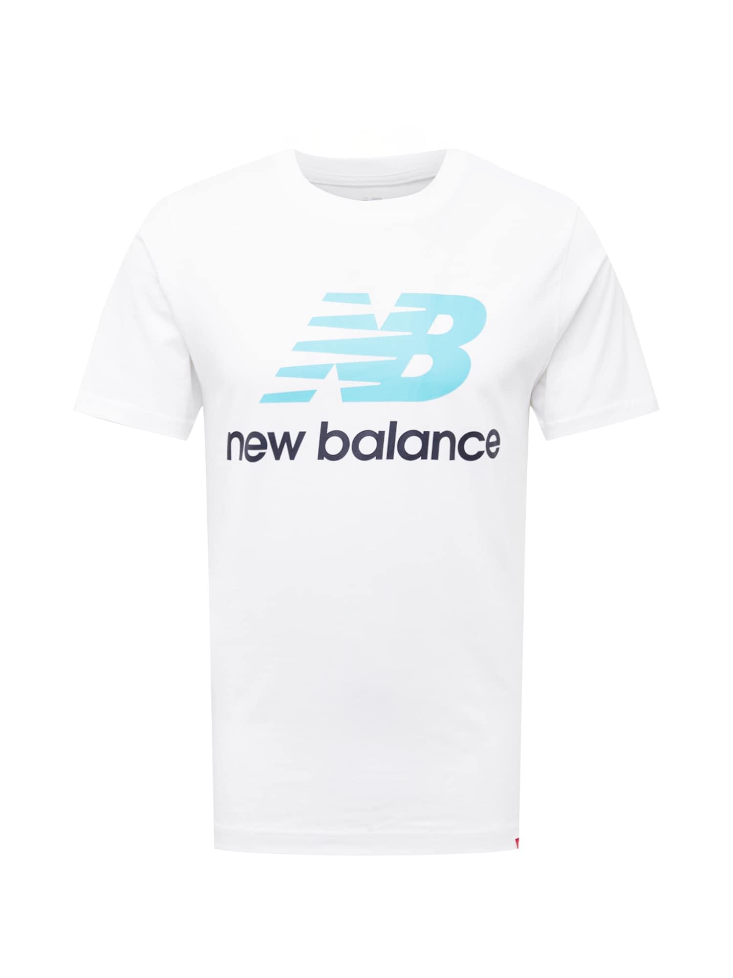 new balance Marškinėliai balta / neoninė mėlyna / juoda