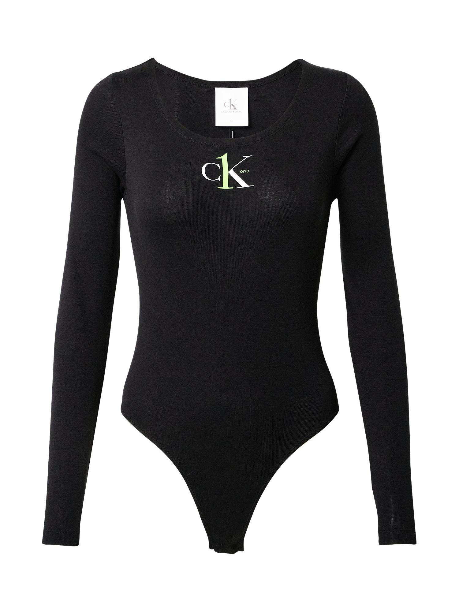 Calvin Klein Jeans Marškinėliai-glaustinukė juoda / balta / žaliosios citrinos spalva