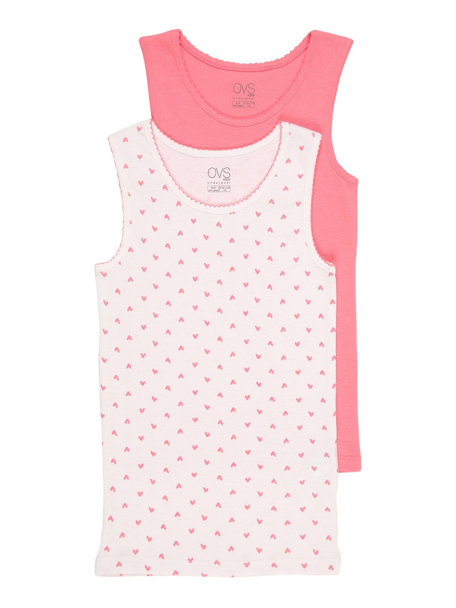 OVS Apatiniai marškinėliai rožinė / balta