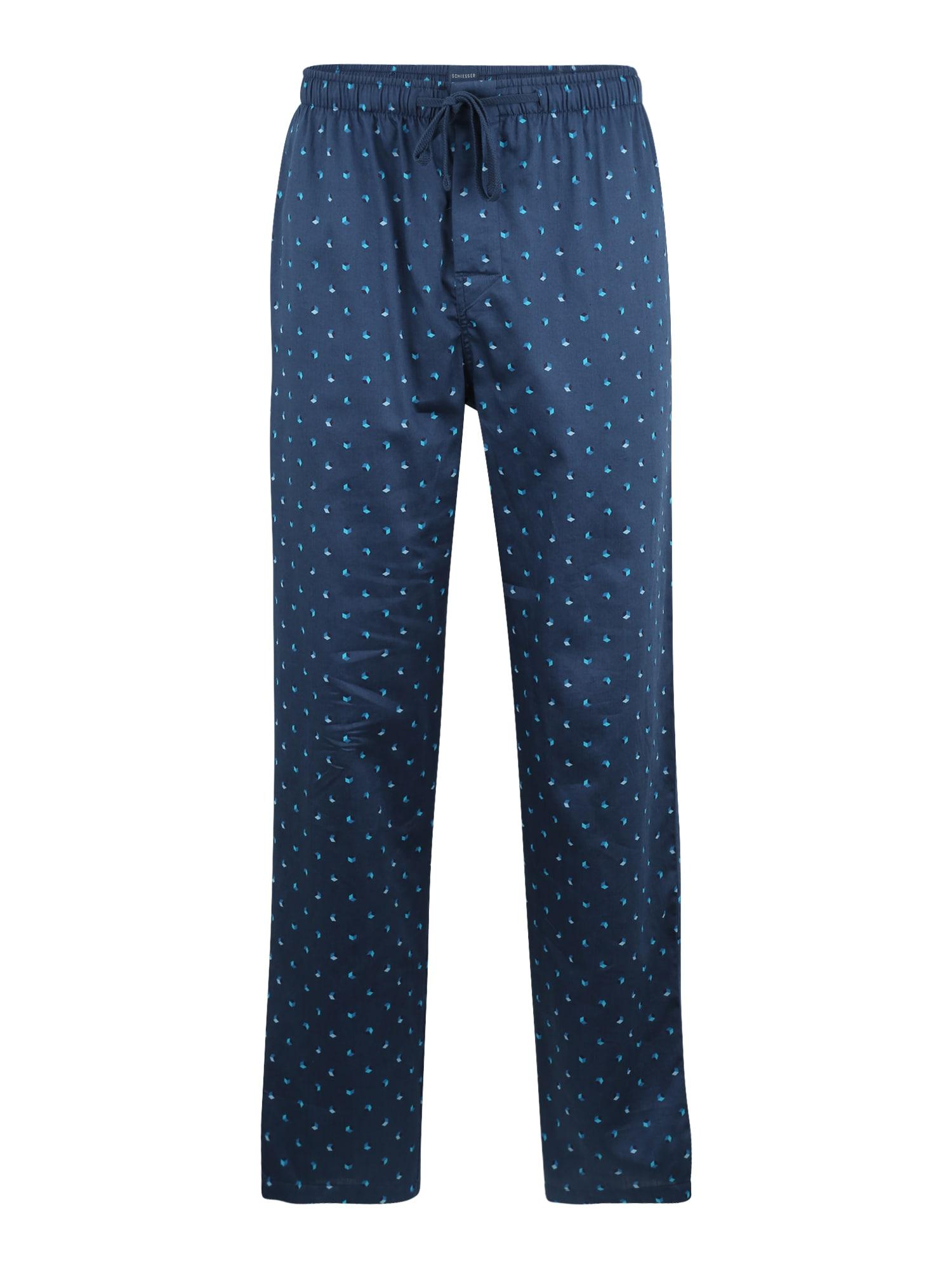 SCHIESSER Pyžamové kalhoty  nebeská modř / chladná modrá / kámen