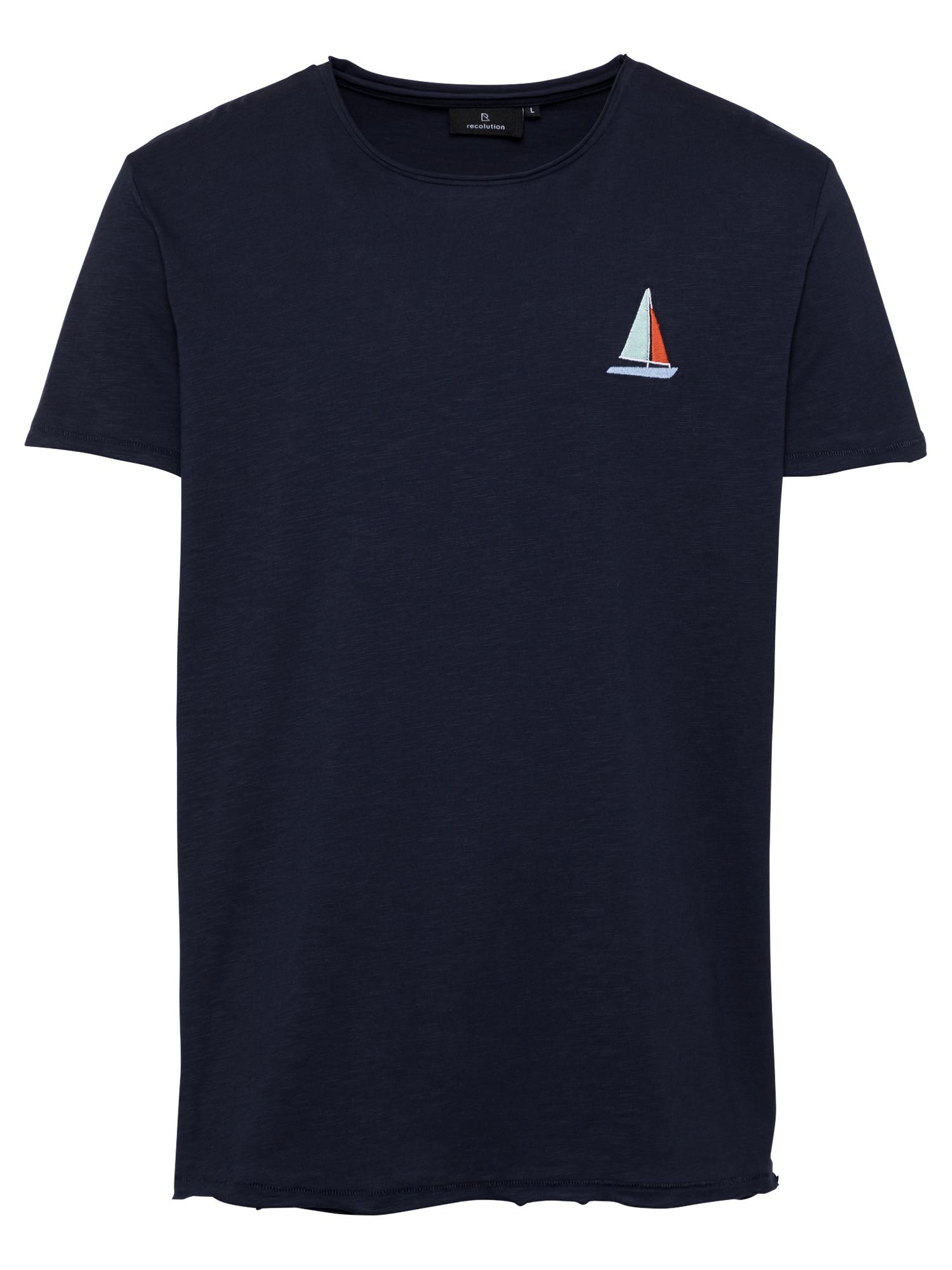 recolution Marškinėliai nakties mėlyna / balta / opalo / tamsiai oranžinė