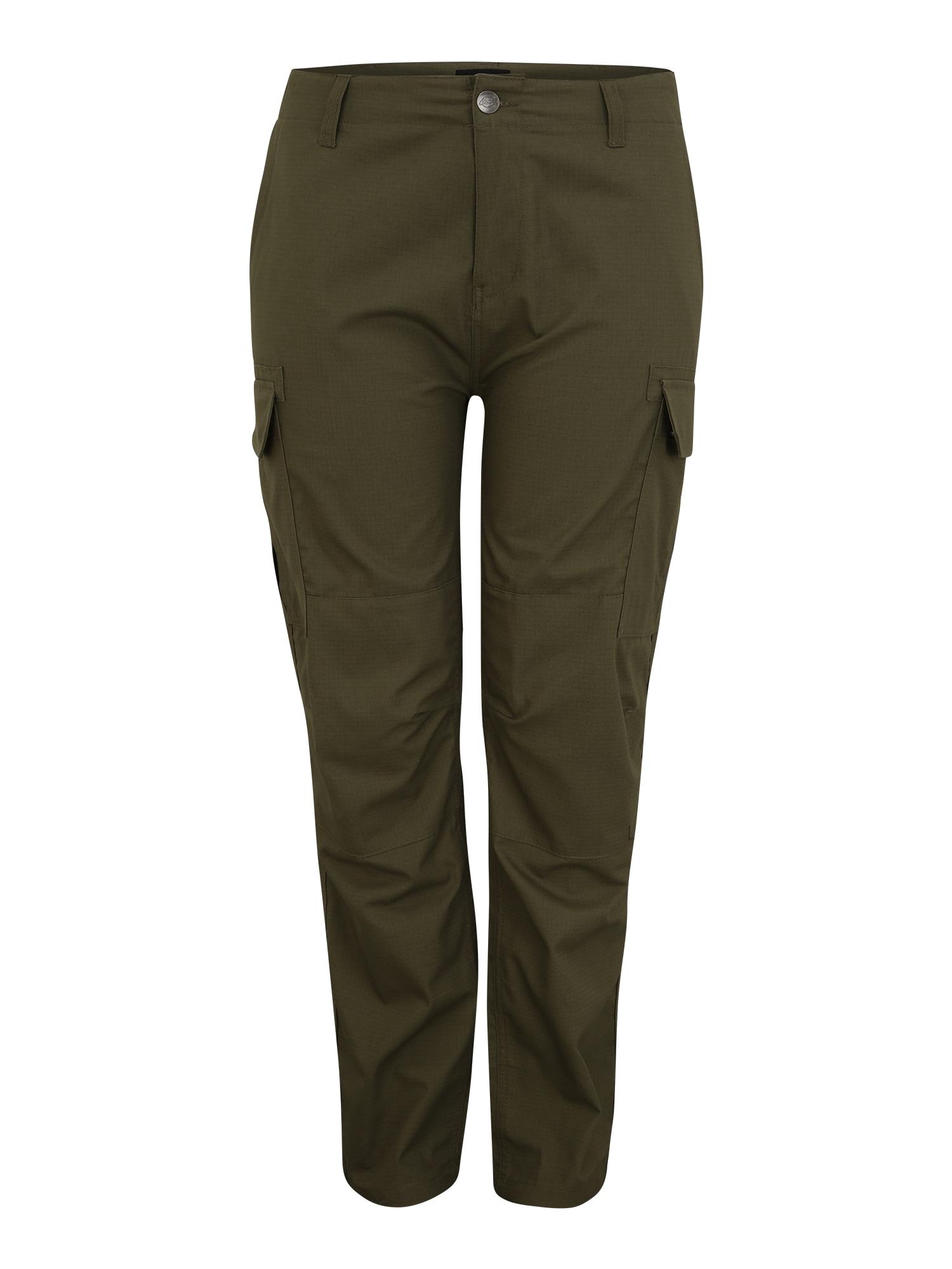 DICKIES Laisvo stiliaus kelnės tamsiai žalia