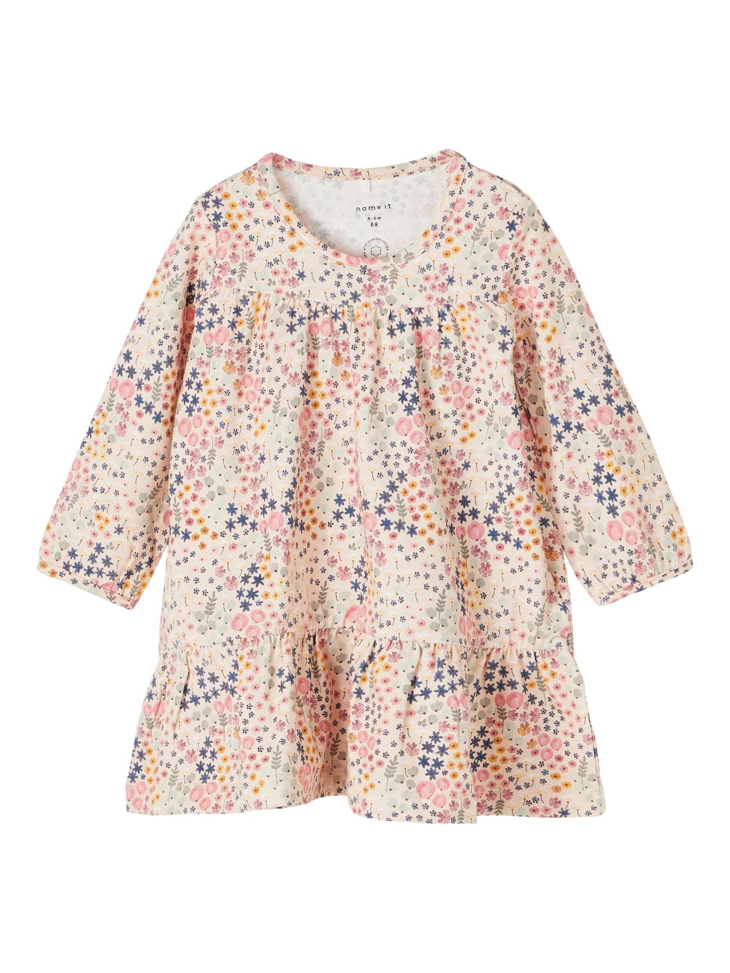 NAME IT Suknelė 'Beata' pastelinė rožinė / purpurinė / rožinė / aukso geltonumo spalva / alyvuogių spalva