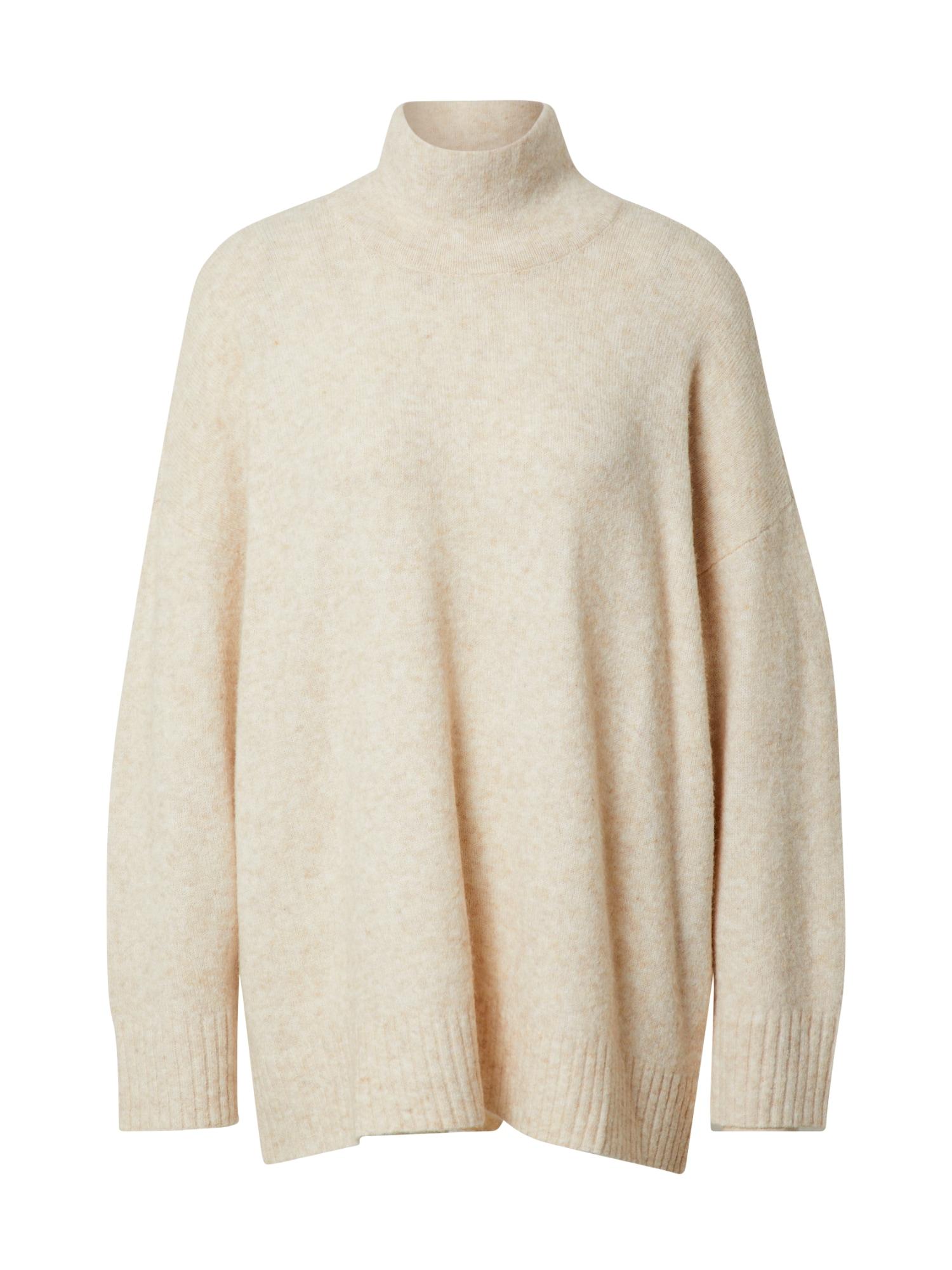 JUST FEMALE Laisvas megztinis marga smėlio spalva