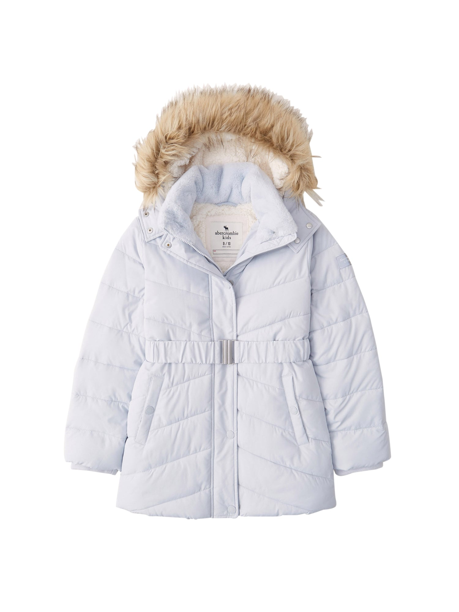 Abercrombie & Fitch Žieminė striukė 'ADVENTURE' šviesiai mėlyna / vilnos balta