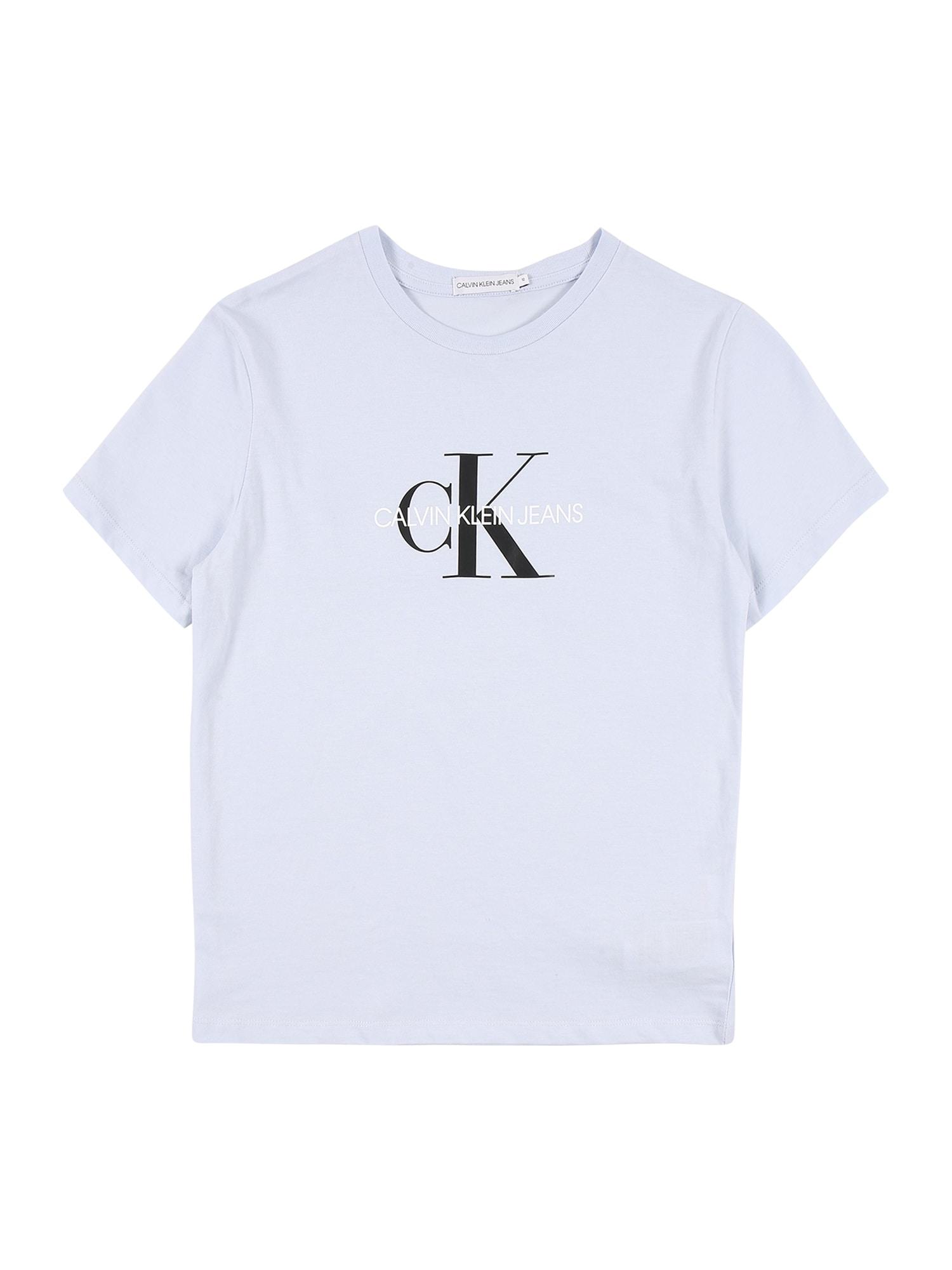 Calvin Klein Jeans Marškinėliai šviesiai mėlyna / juoda