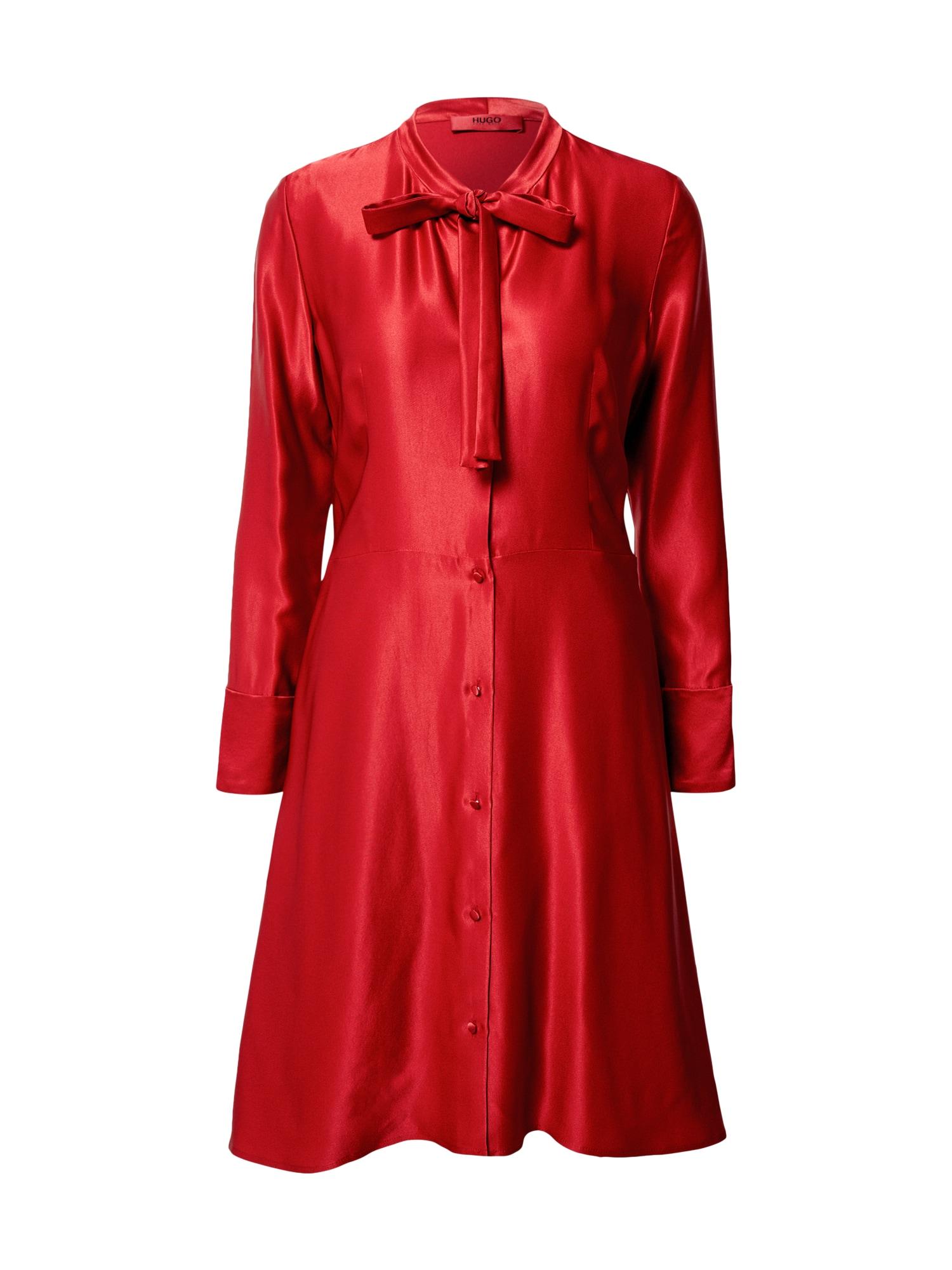 HUGO Košilové šaty  červená