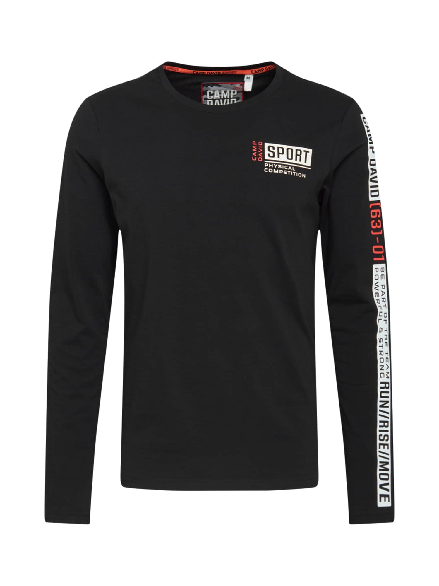 CAMP DAVID Marškinėliai juoda / balta / raudona / pilka