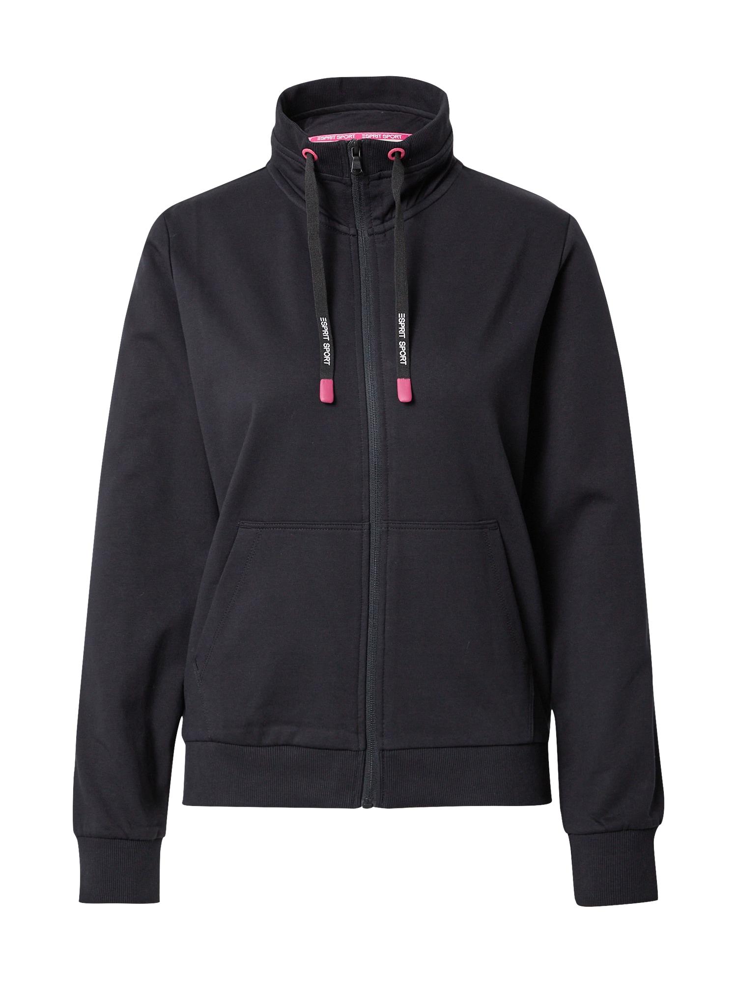 ESPRIT SPORT Sportovní mikina s kapucí  černá / pink