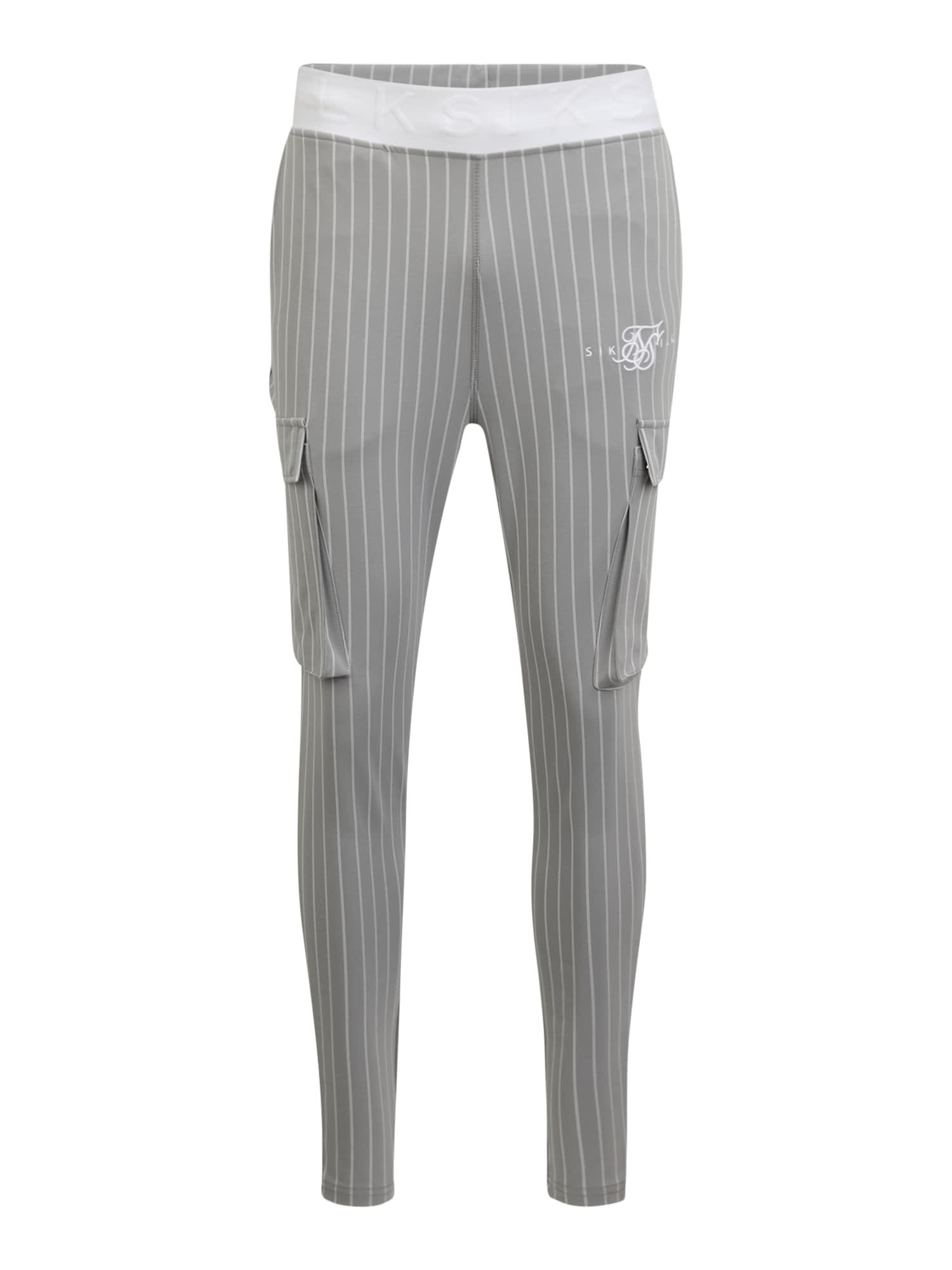SikSilk Laisvo stiliaus kelnės balta / pilka