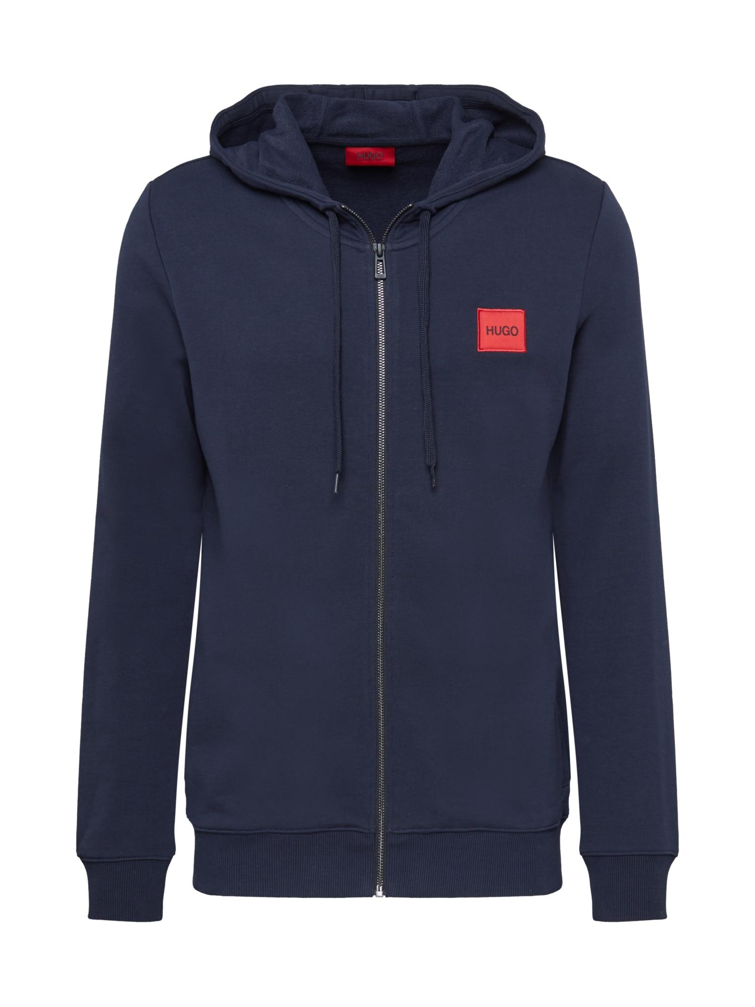 HUGO Mikina s kapucí 'Daple'  tmavě modrá / červená