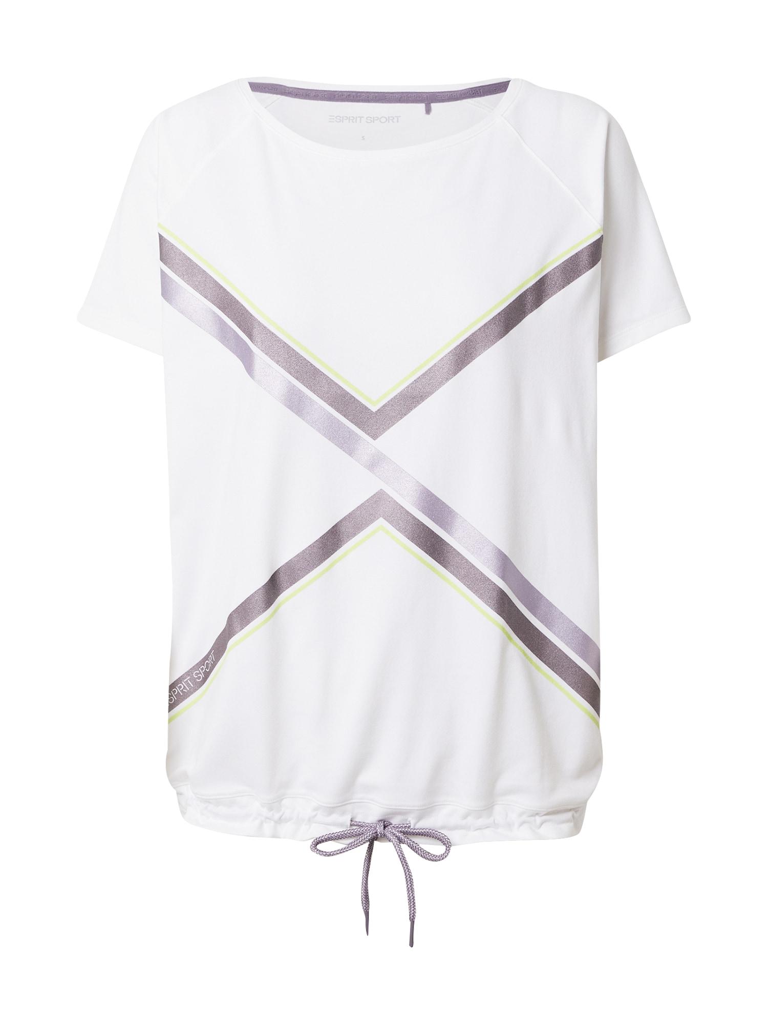 ESPRIT SPORT Sportiniai marškinėliai balta / purpurinė / baklažano spalva / geltonosios citrinos spalva