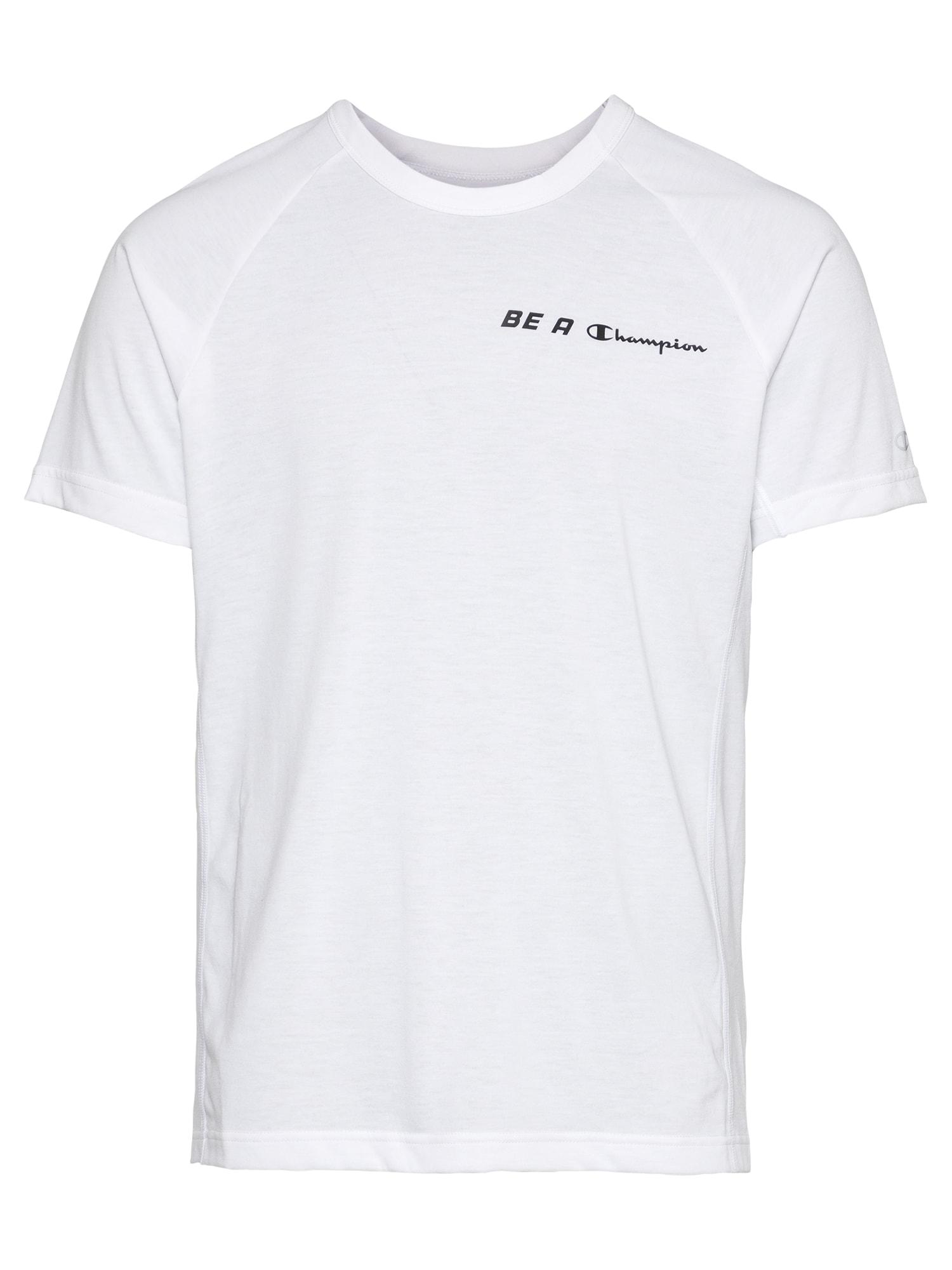 Champion Authentic Athletic Apparel Sportiniai marškinėliai balkšva / juoda / šviesiai oranžinė
