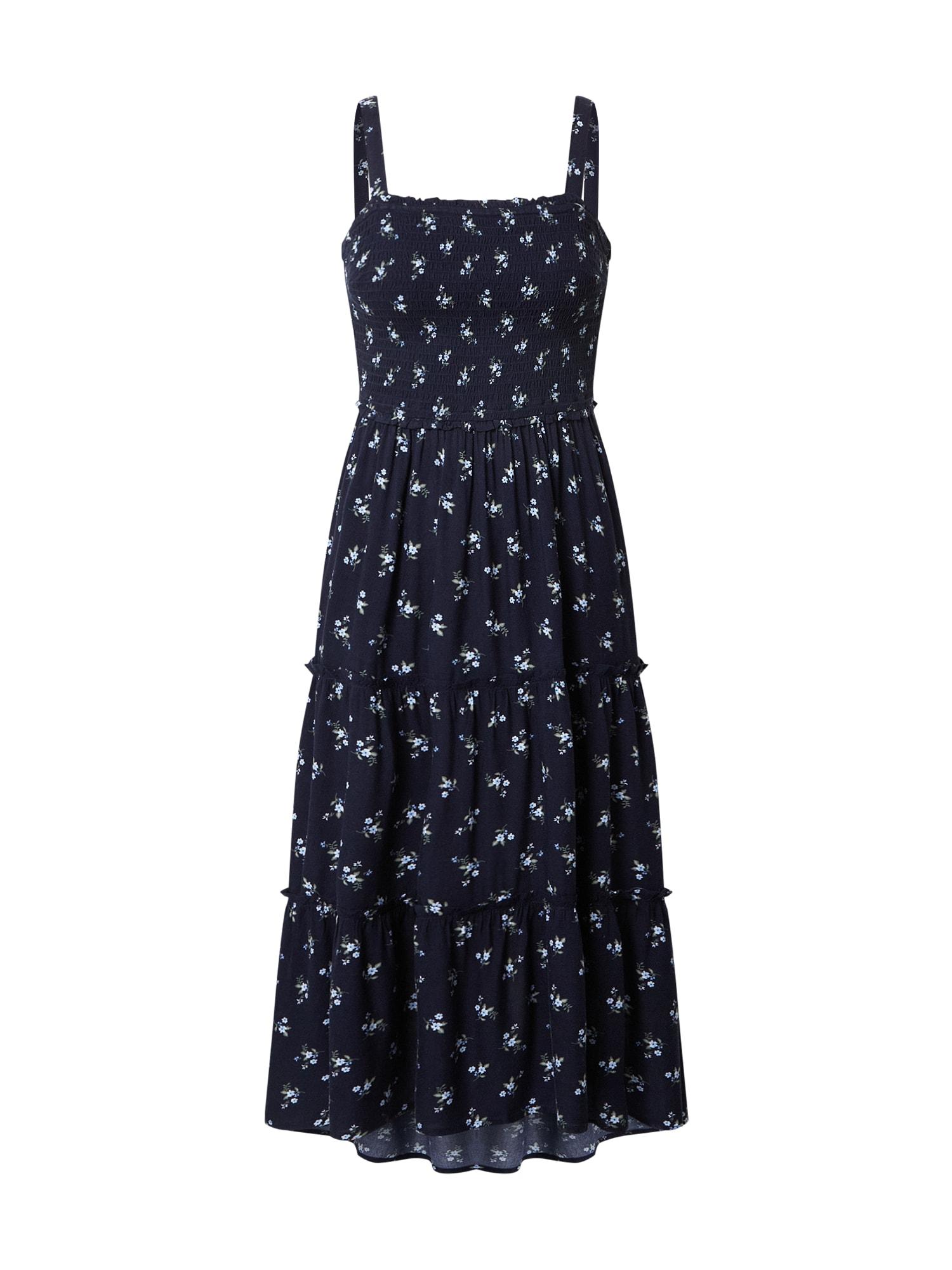 HOLLISTER Vasarinė suknelė tamsiai mėlyna / šviesiai mėlyna / žalia / balta