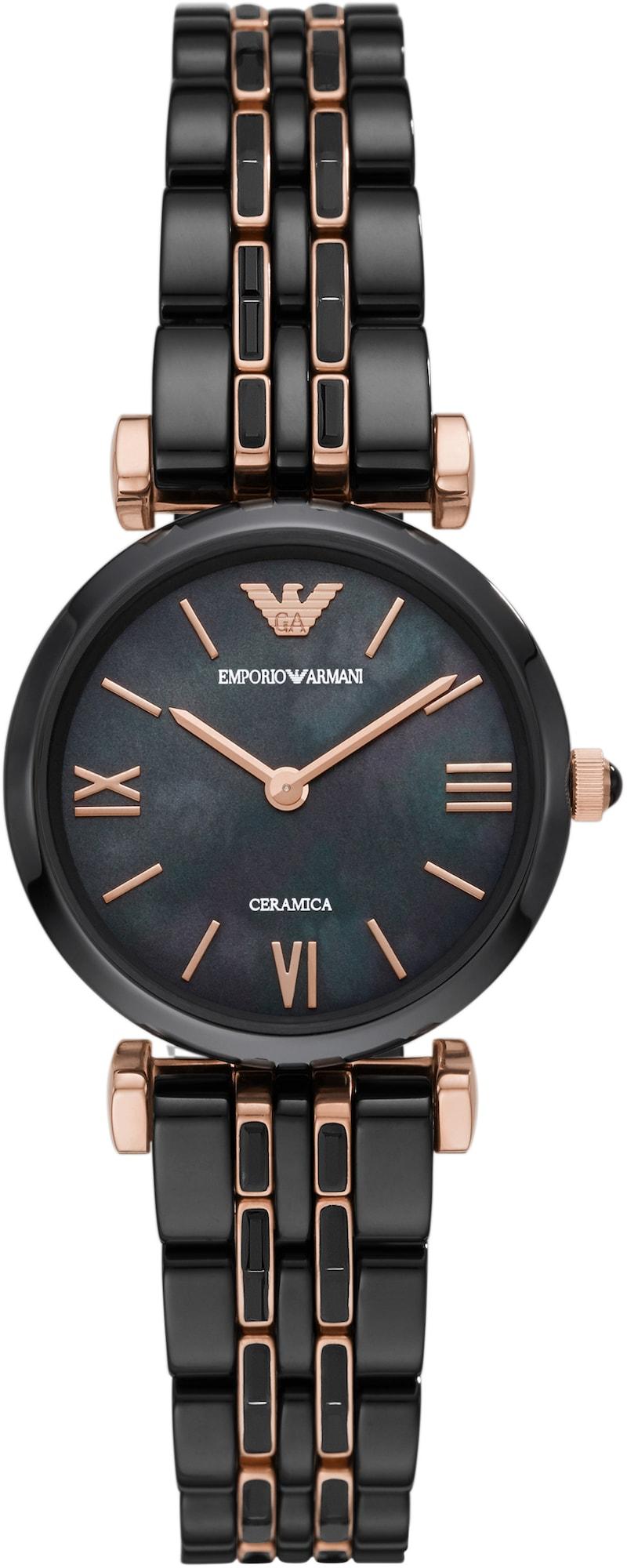 Emporio Armani Analoginis (įprasto dizaino) laikrodis juoda / rožinio aukso spalva
