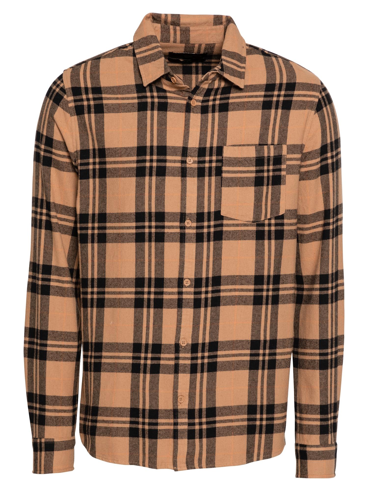 Cotton On Marškiniai šviesiai ruda / juoda / abrikosų spalva
