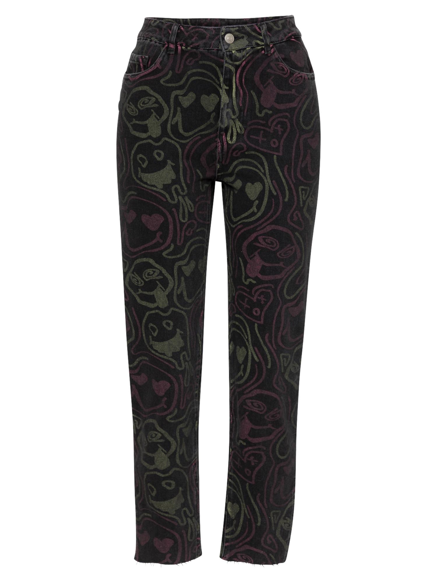 Pimkie Kelnės rusvai žalia / tamsiai rožinė / juodo džinso spalva